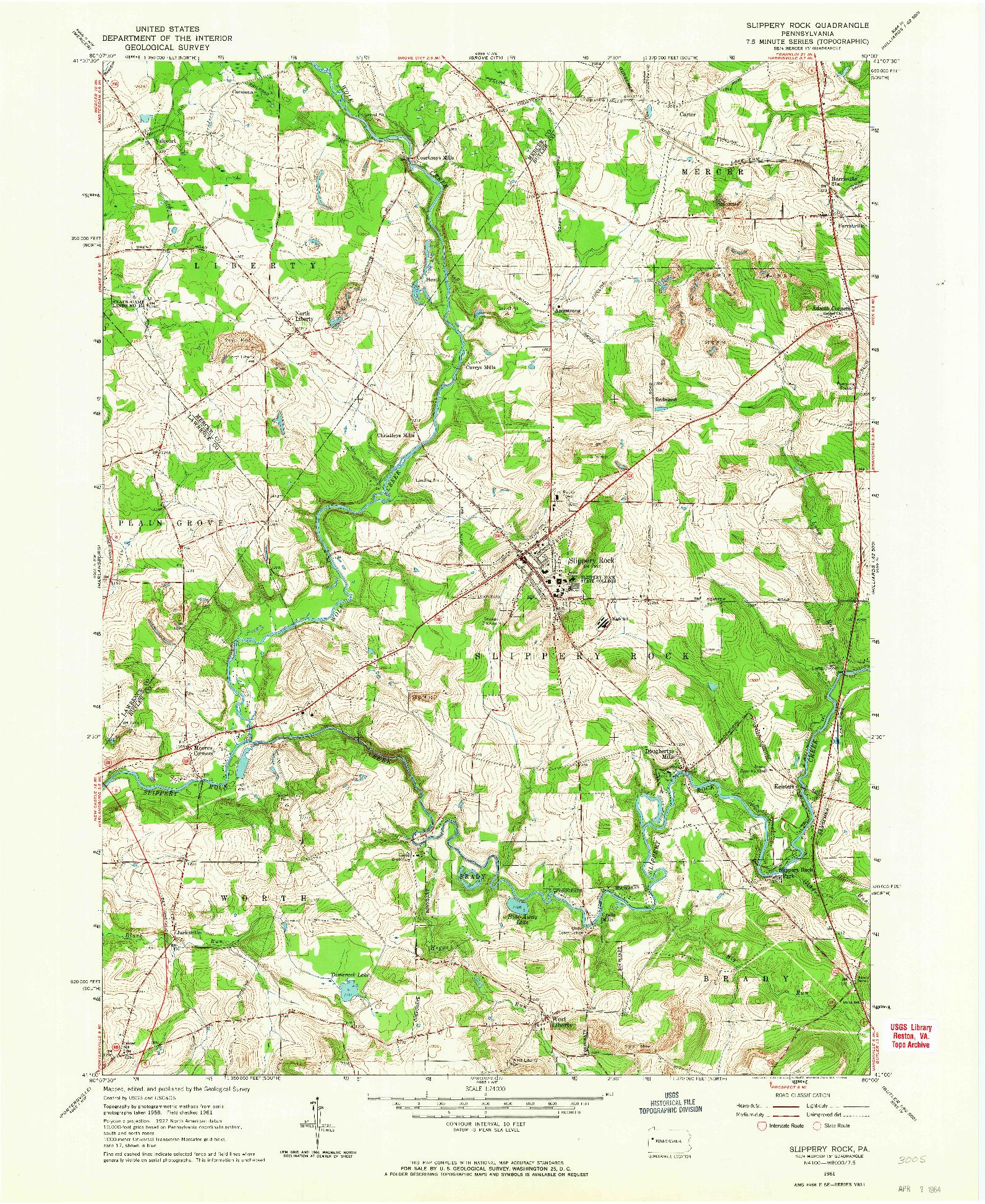 USGS 1:24000-SCALE QUADRANGLE FOR SLIPPERY ROCK, PA 1961