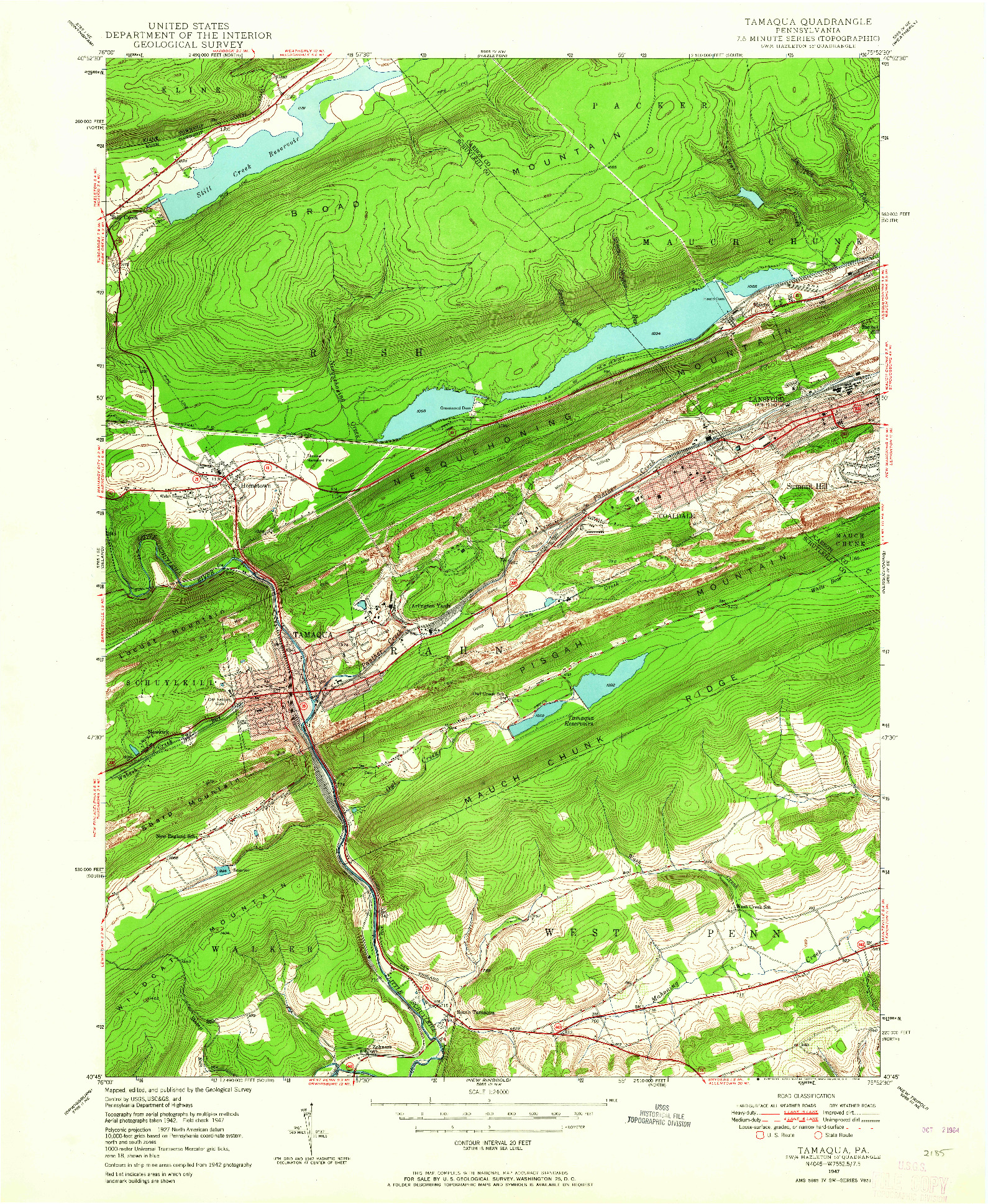 USGS 1:24000-SCALE QUADRANGLE FOR TAMAQUA, PA 1947