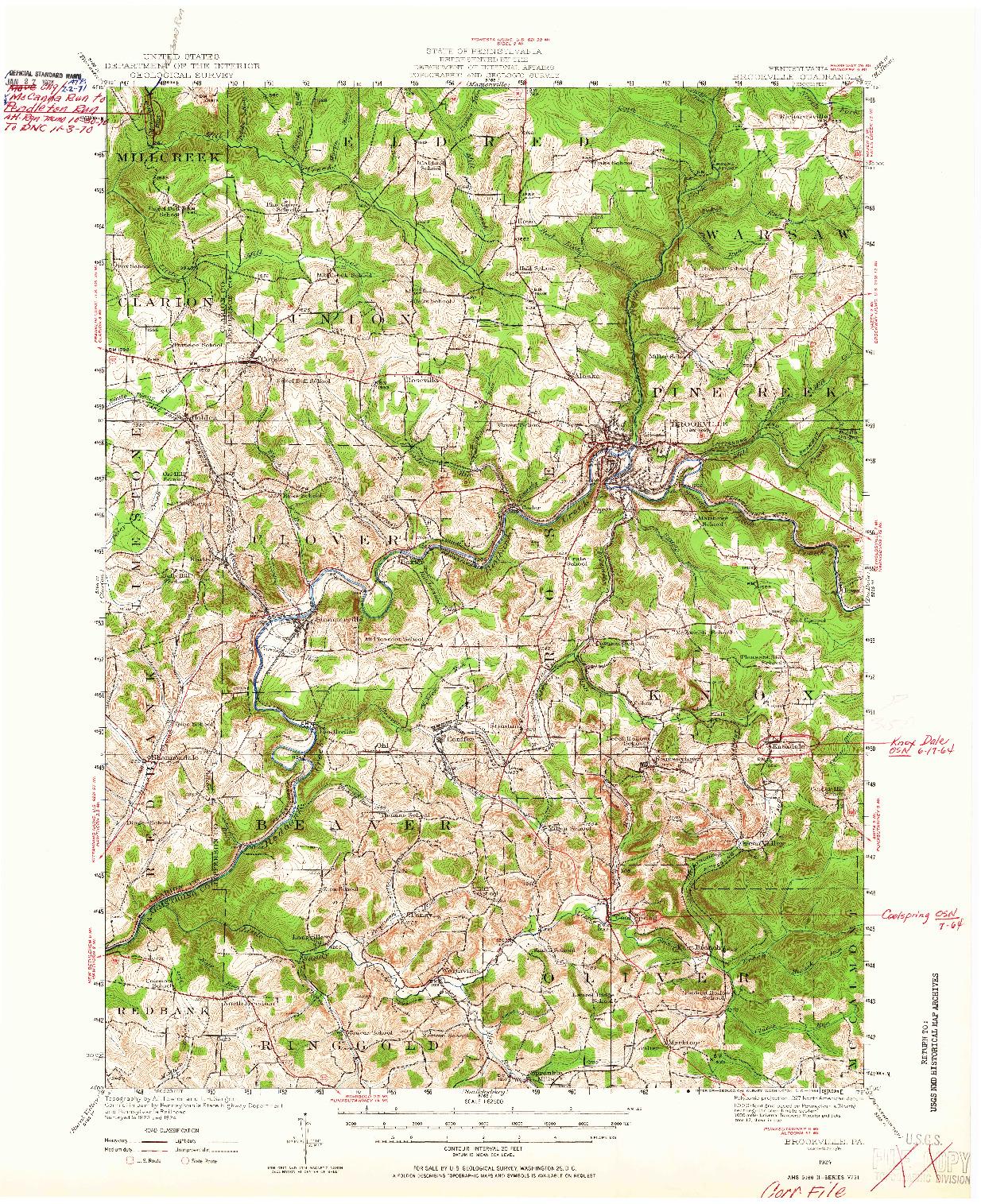 USGS 1:62500-SCALE QUADRANGLE FOR BROOKVILLE, PA 1924