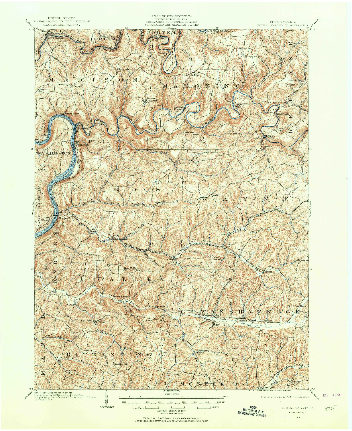 USGS 1:62500-SCALE QUADRANGLE FOR RURAL VALLEY, PA 1901