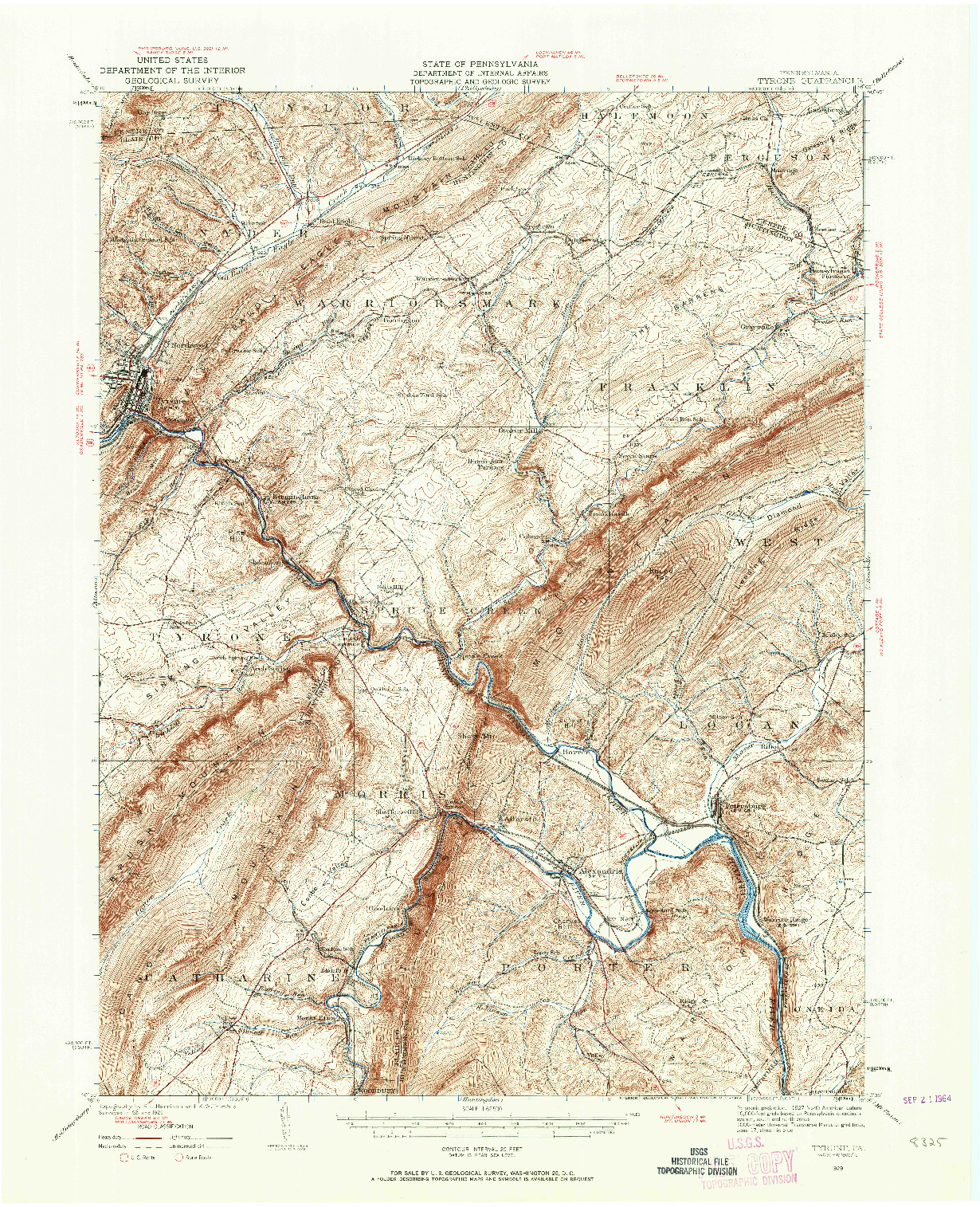 USGS 1:62500-SCALE QUADRANGLE FOR TYRONE, PA 1929