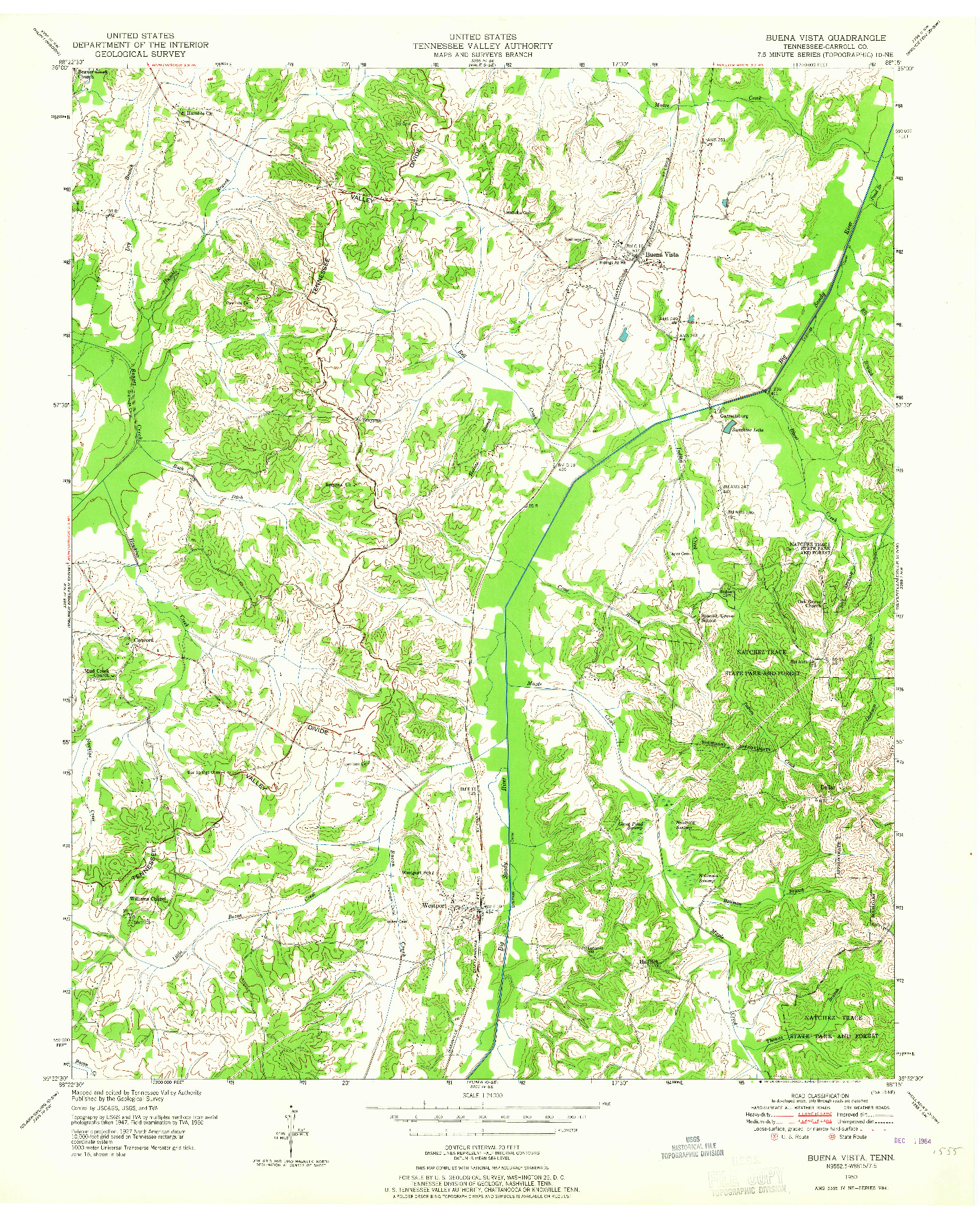 USGS 1:24000-SCALE QUADRANGLE FOR BUENA VISTA, TN 1950
