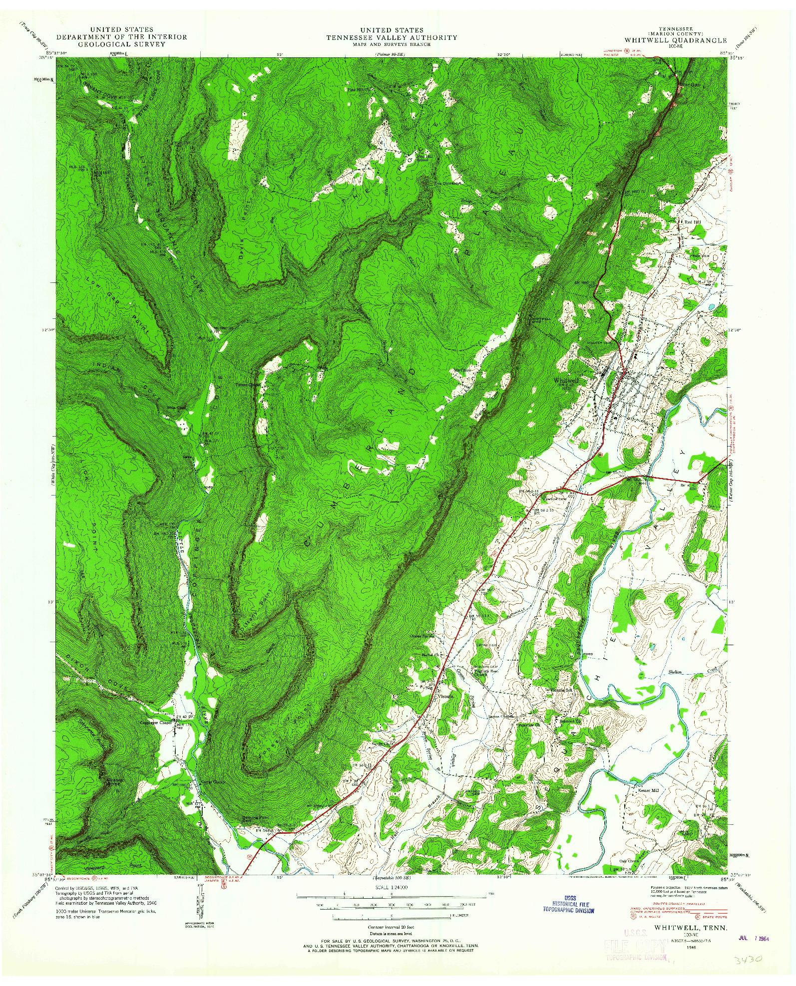 USGS 1:24000-SCALE QUADRANGLE FOR WHITWELL, TN 1946