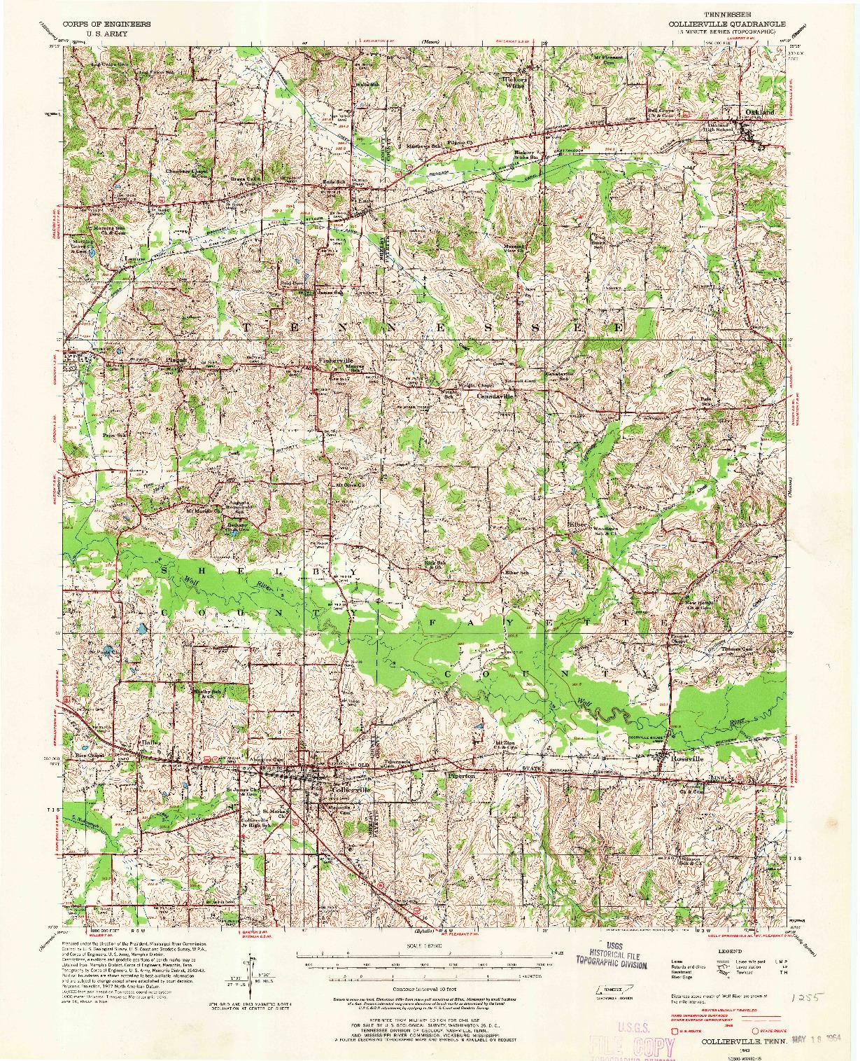USGS 1:62500-SCALE QUADRANGLE FOR COLLIERVILLE, TN 1943