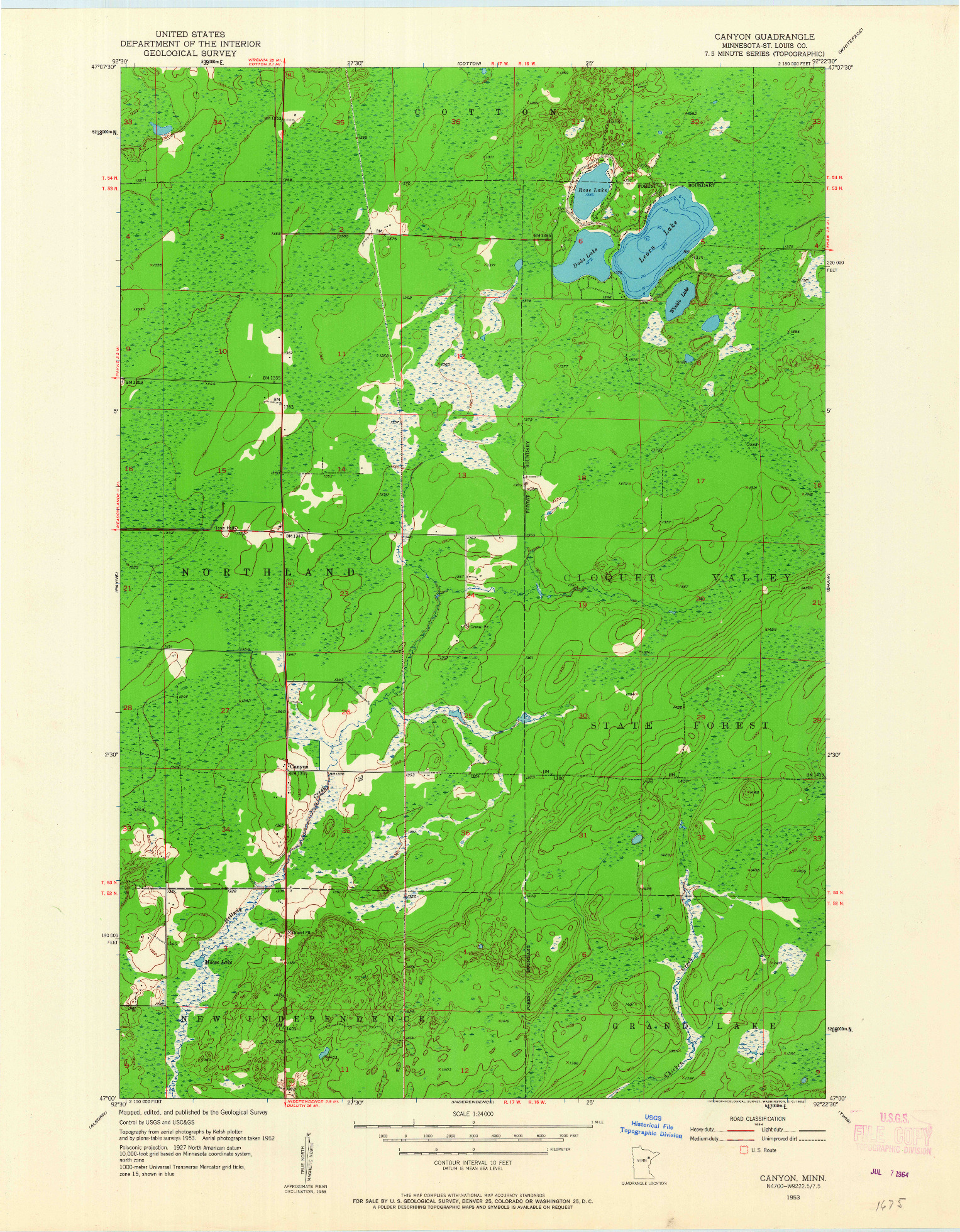 USGS 1:24000-SCALE QUADRANGLE FOR CANYON, MN 1953
