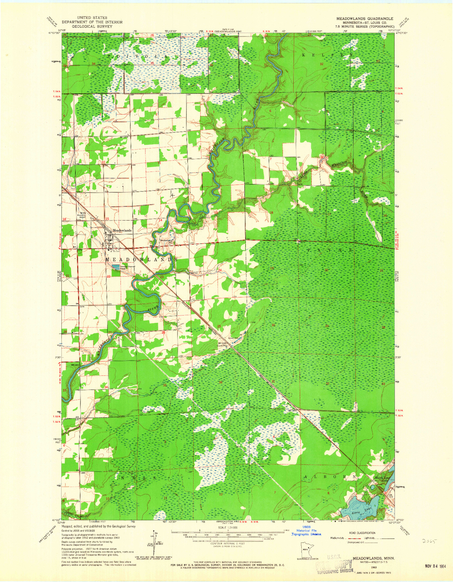 USGS 1:24000-SCALE QUADRANGLE FOR MEADOWLANDS, MN 1963