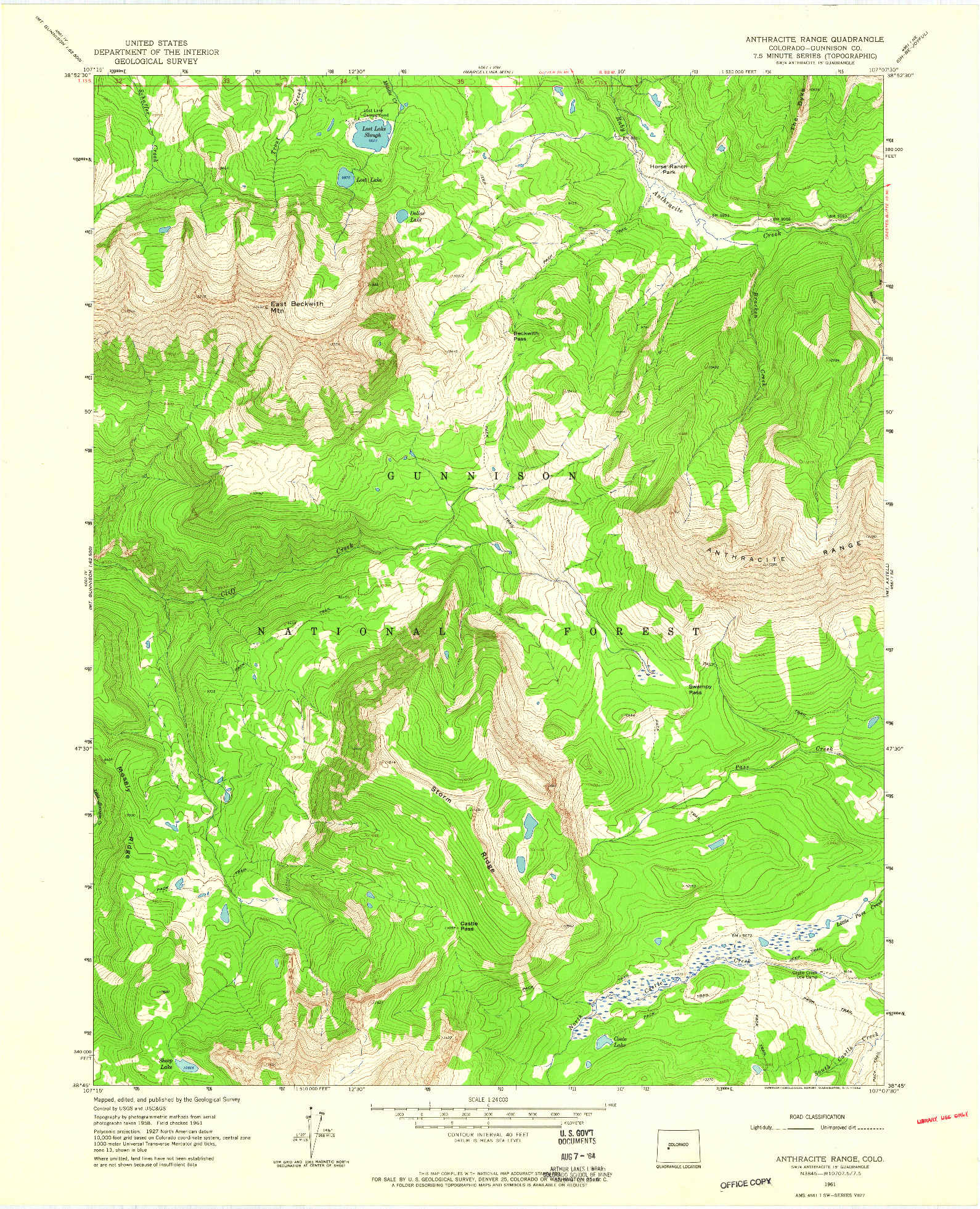 USGS 1:24000-SCALE QUADRANGLE FOR ANTHRACITE RANGE, CO 1961
