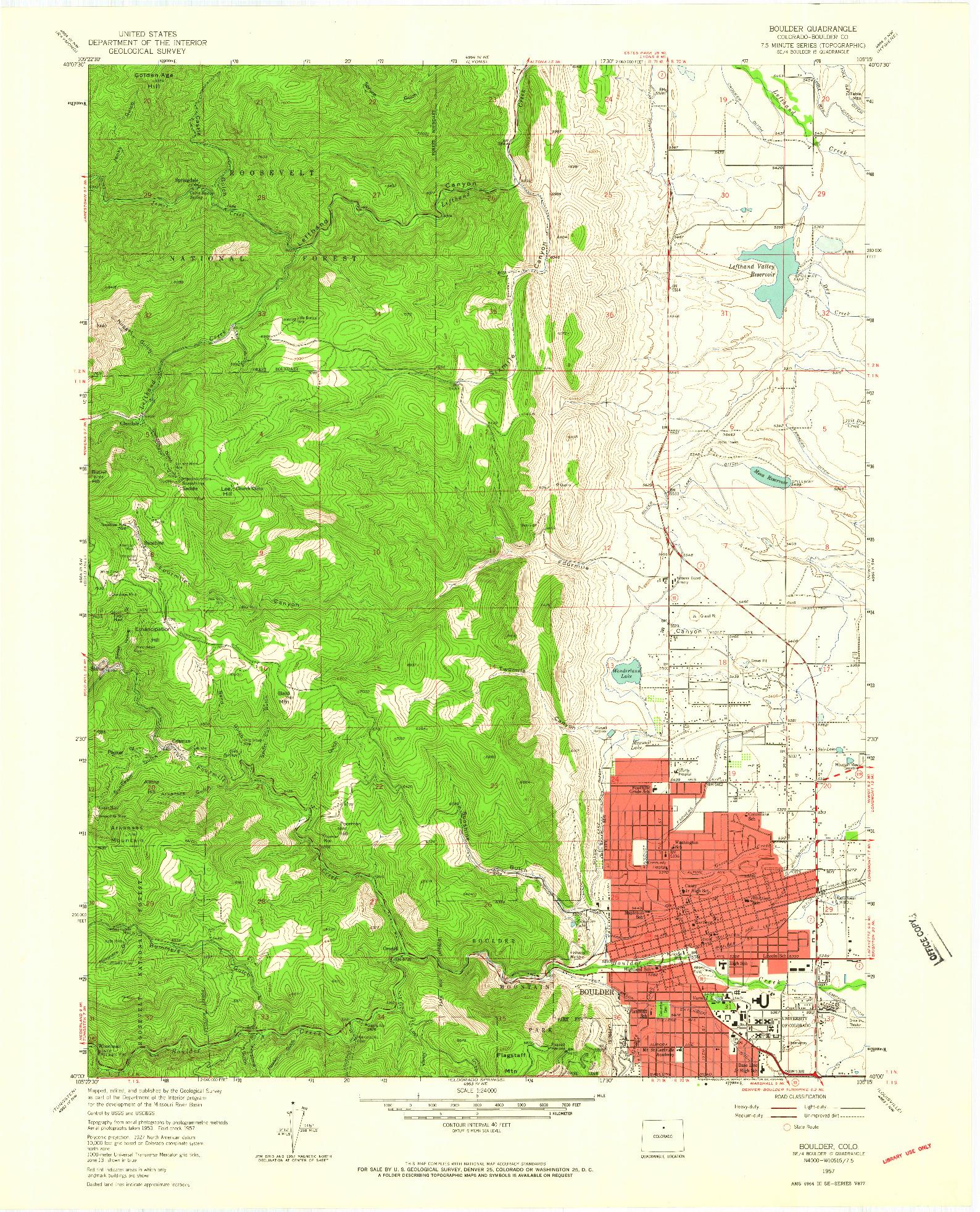 USGS 1:24000-SCALE QUADRANGLE FOR BOULDER, CO 1957