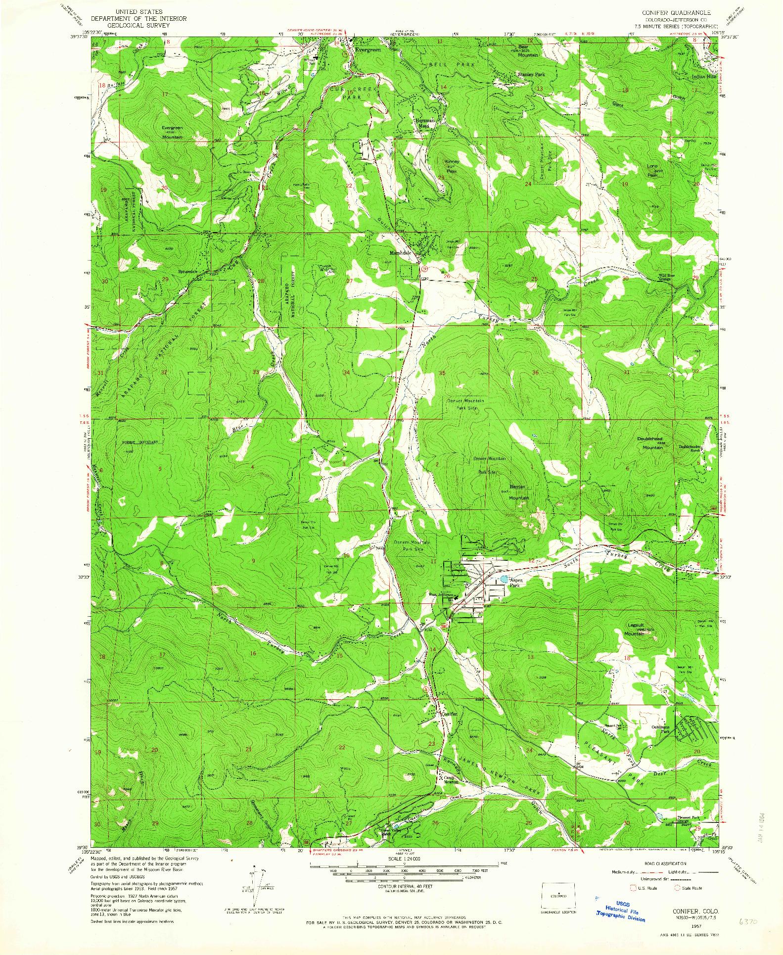 USGS 1:24000-SCALE QUADRANGLE FOR CONIFER, CO 1957