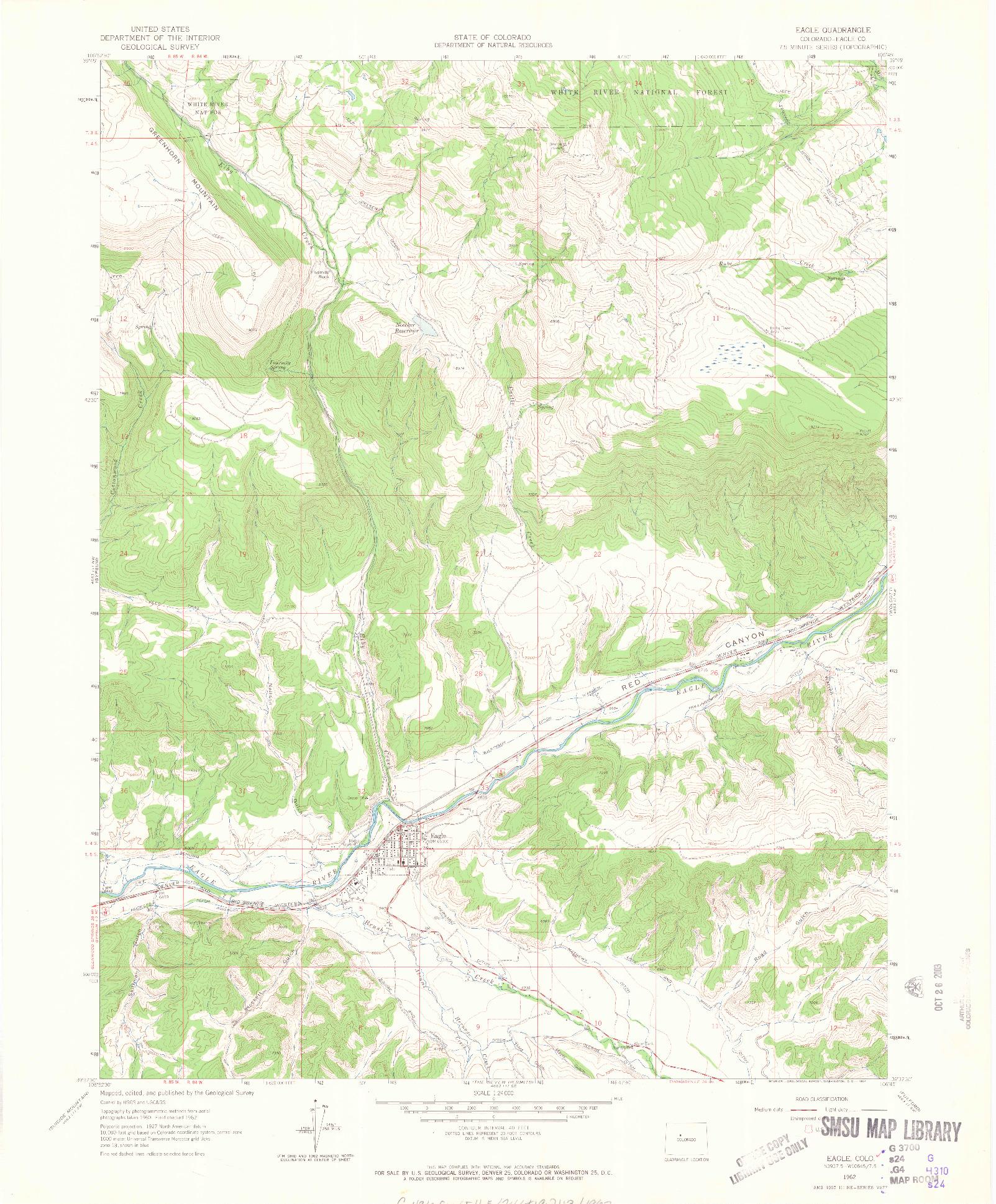 USGS 1:24000-SCALE QUADRANGLE FOR EAGLE, CO 1962