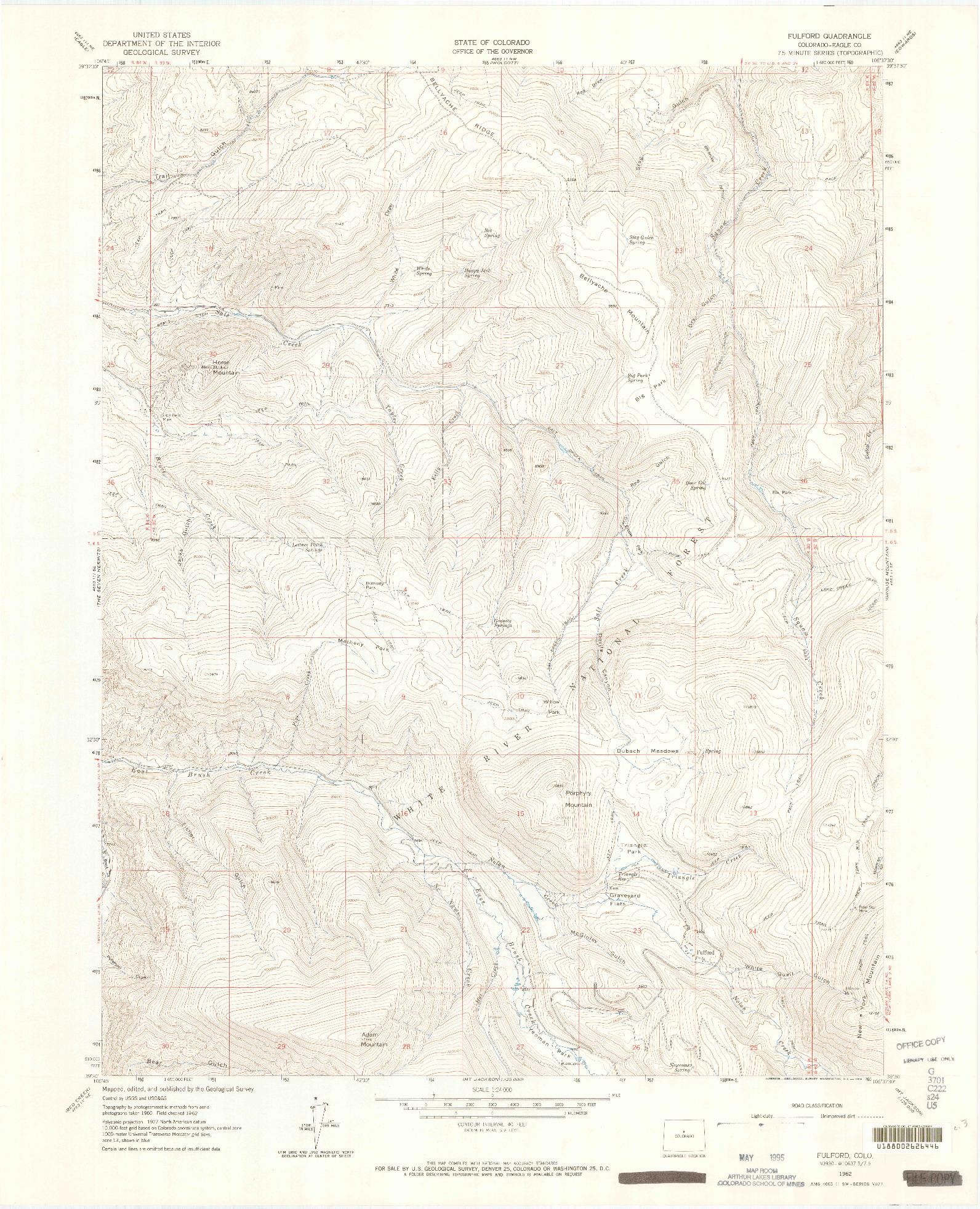 USGS 1:24000-SCALE QUADRANGLE FOR FULFORD, CO 1962