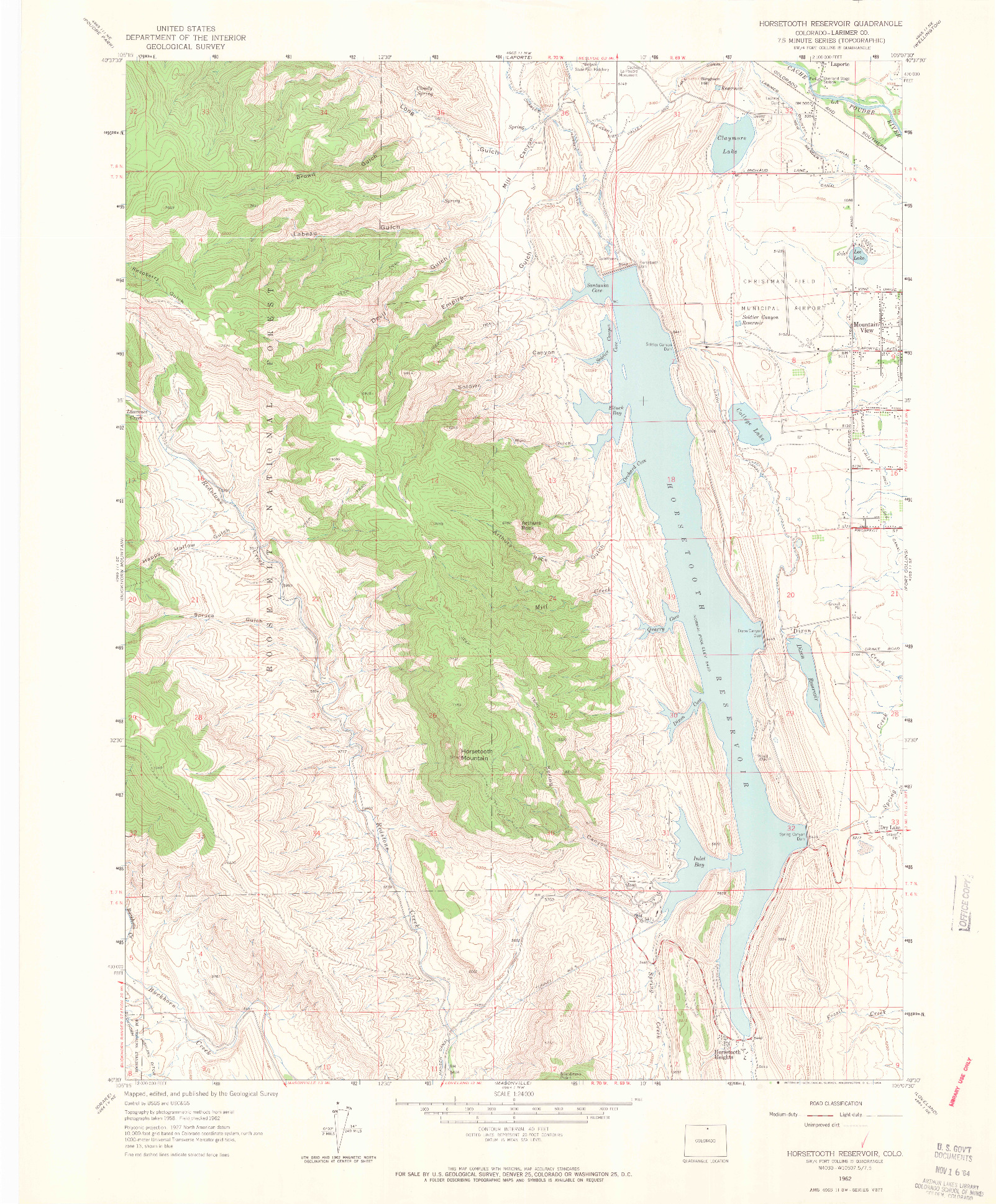 USGS 1:24000-SCALE QUADRANGLE FOR HORSETOOTH RESERVOIR, CO 1962