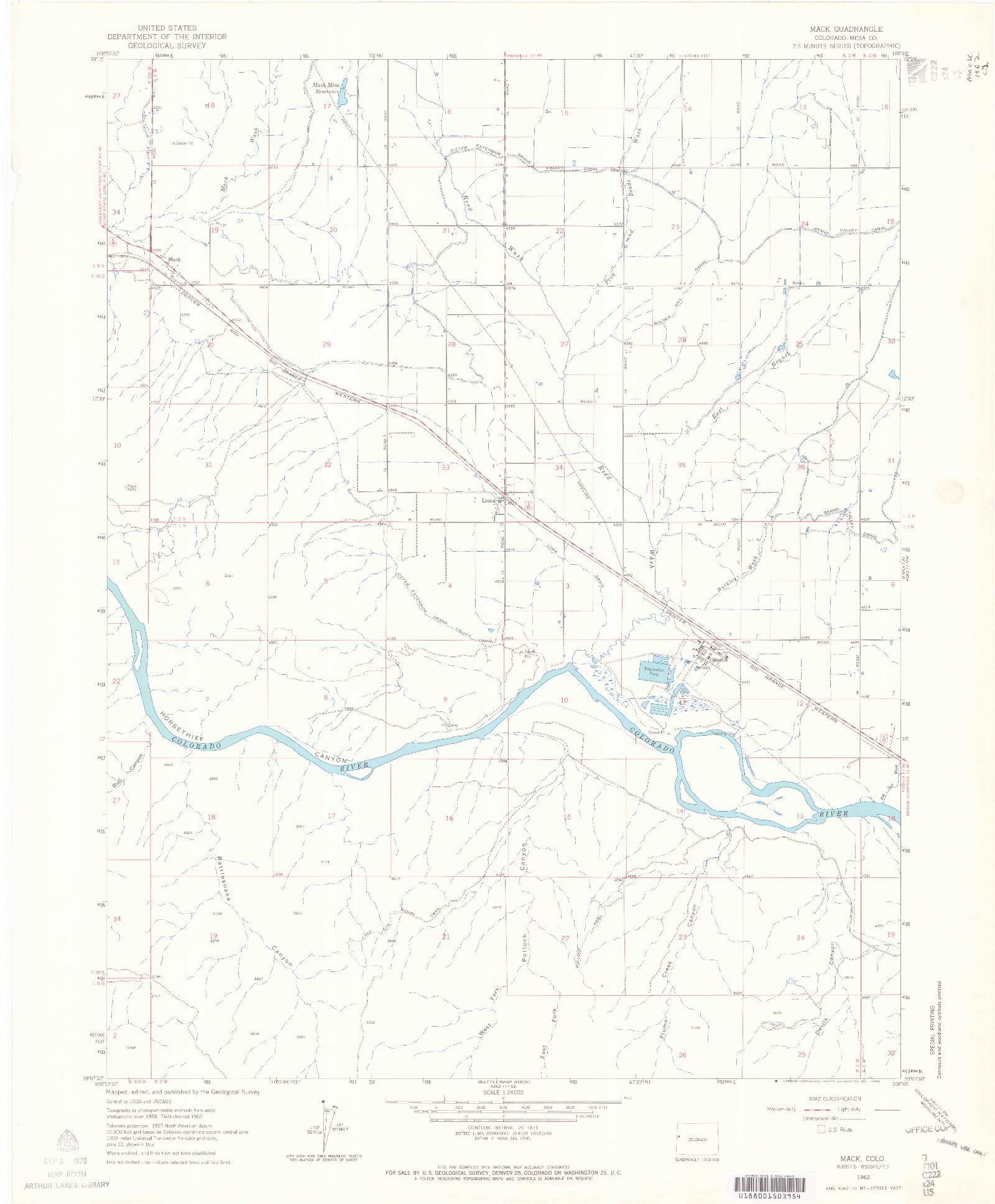 USGS 1:24000-SCALE QUADRANGLE FOR MACK, CO 1962