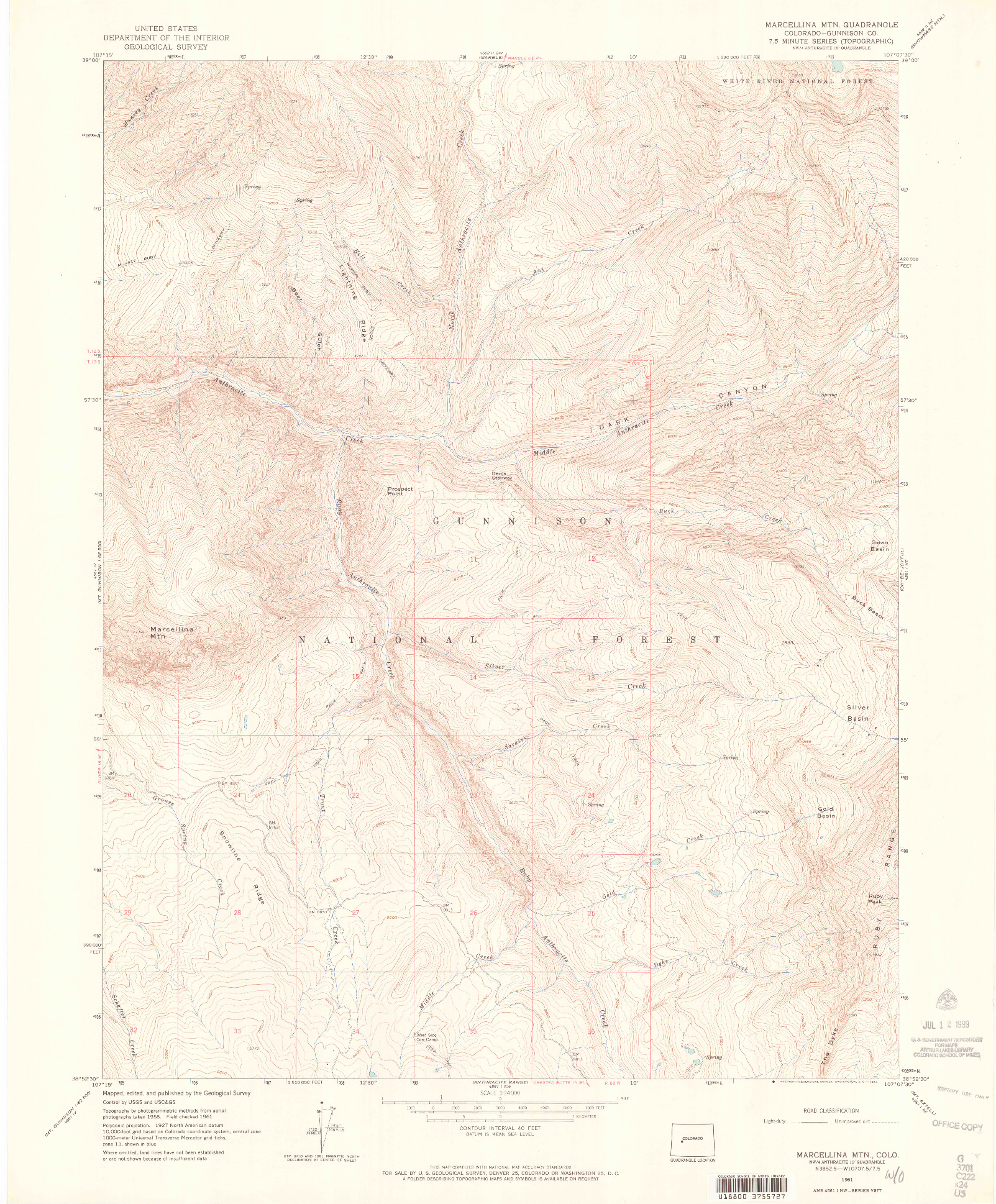 USGS 1:24000-SCALE QUADRANGLE FOR MARCELLINA MOUNTAIN, CO 1961