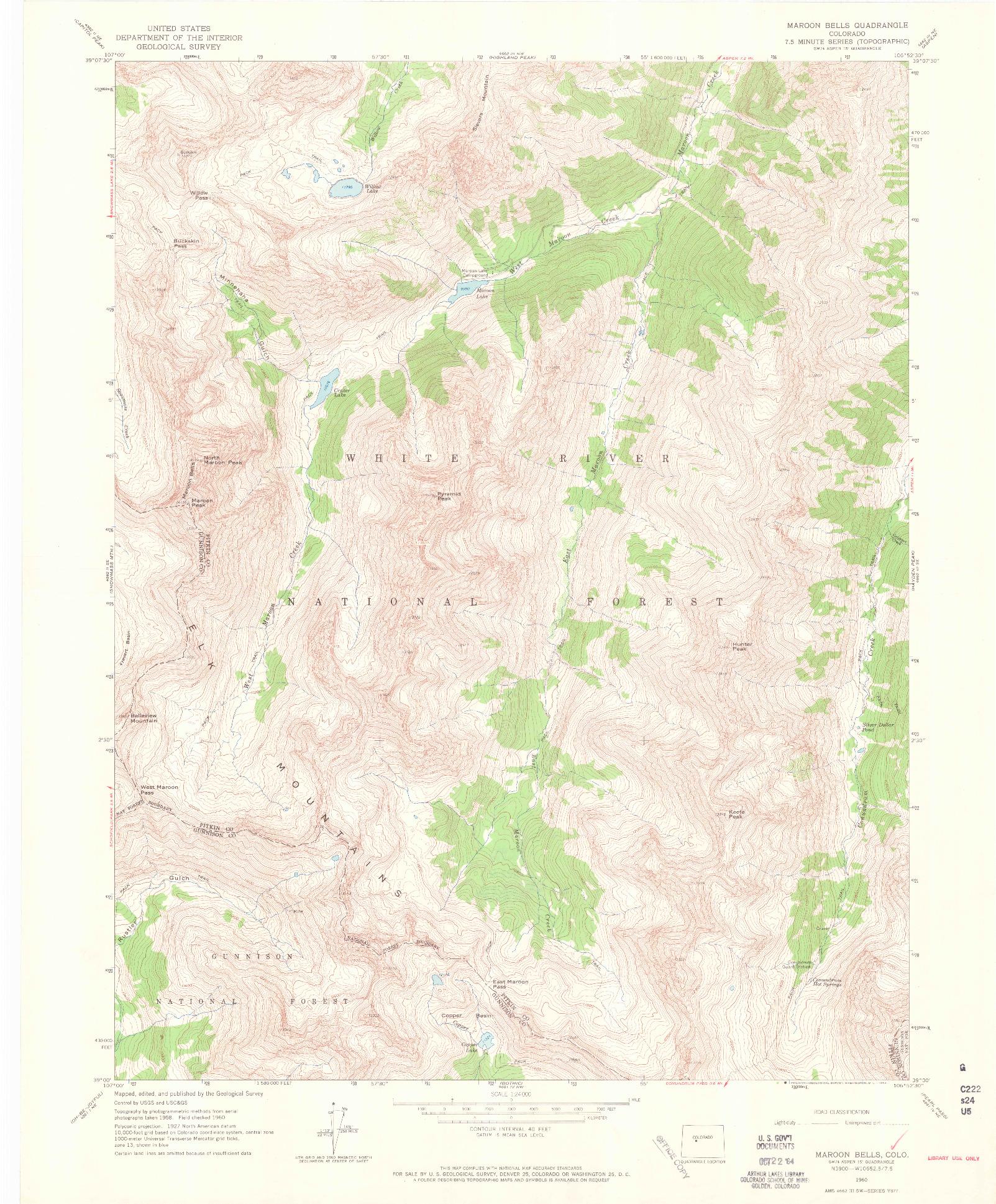 USGS 1:24000-SCALE QUADRANGLE FOR MAROON BELLS, CO 1960