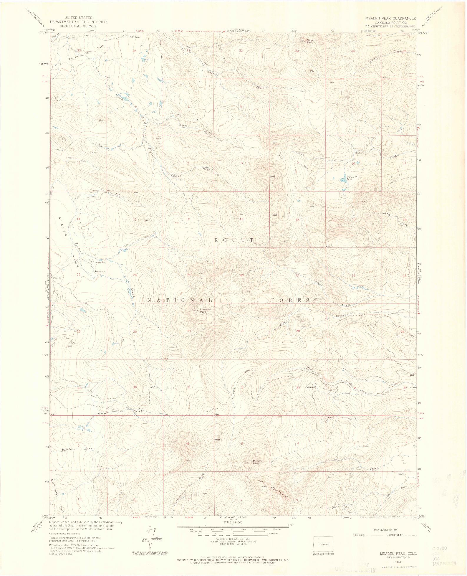 USGS 1:24000-SCALE QUADRANGLE FOR MEADEN PEAK, CO 1962