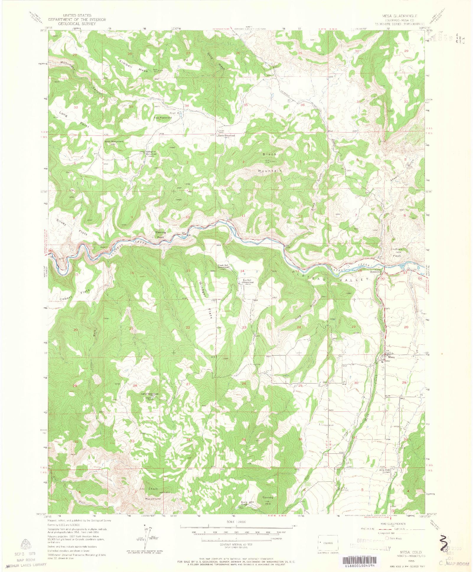 USGS 1:24000-SCALE QUADRANGLE FOR MESA, CO 1955