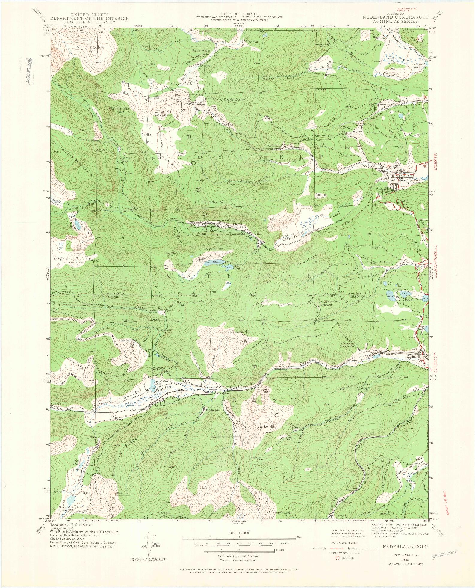 USGS 1:24000-SCALE QUADRANGLE FOR NEDERLAND, CO 1942