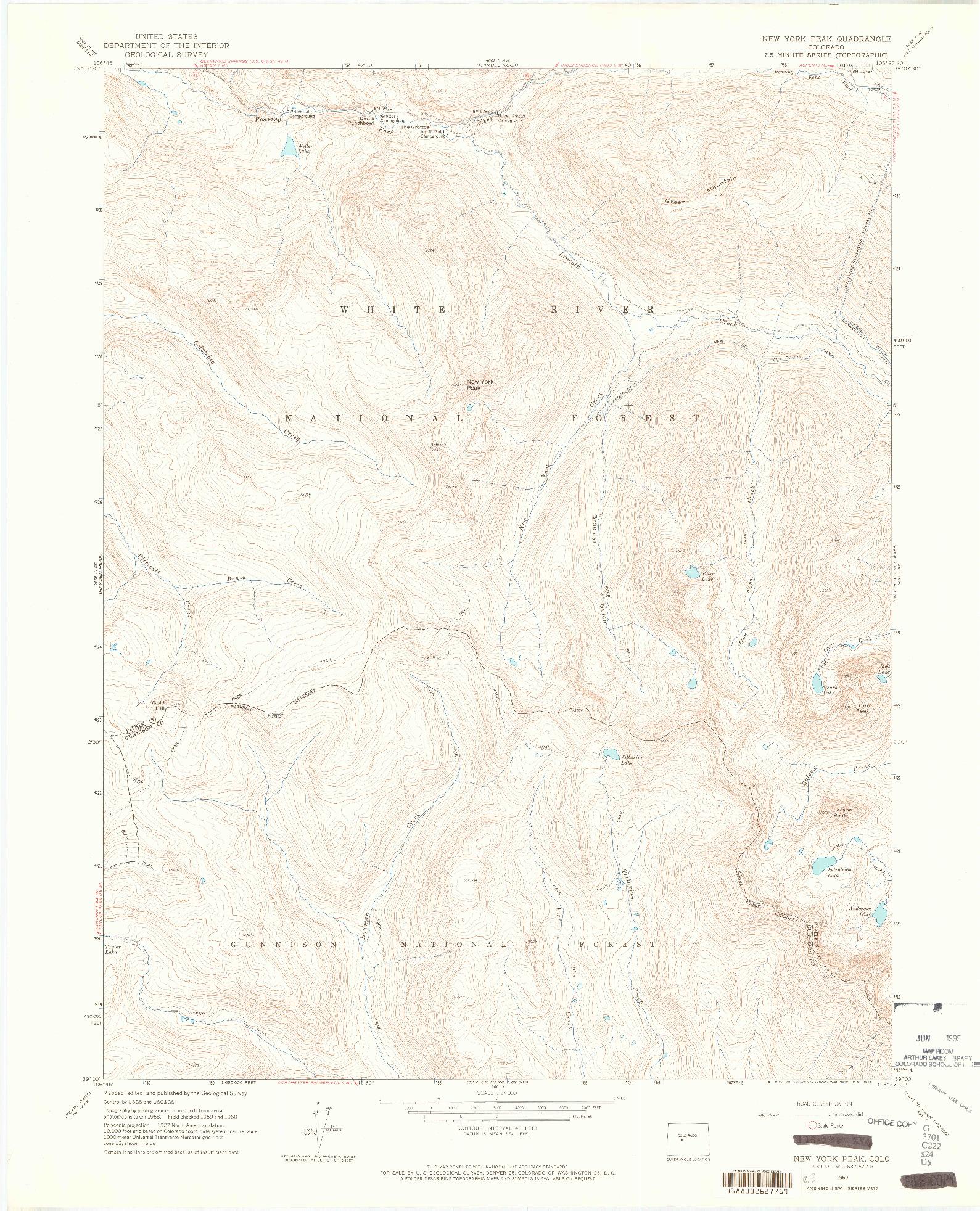 USGS 1:24000-SCALE QUADRANGLE FOR NEW YORK PEAK, CO 1960