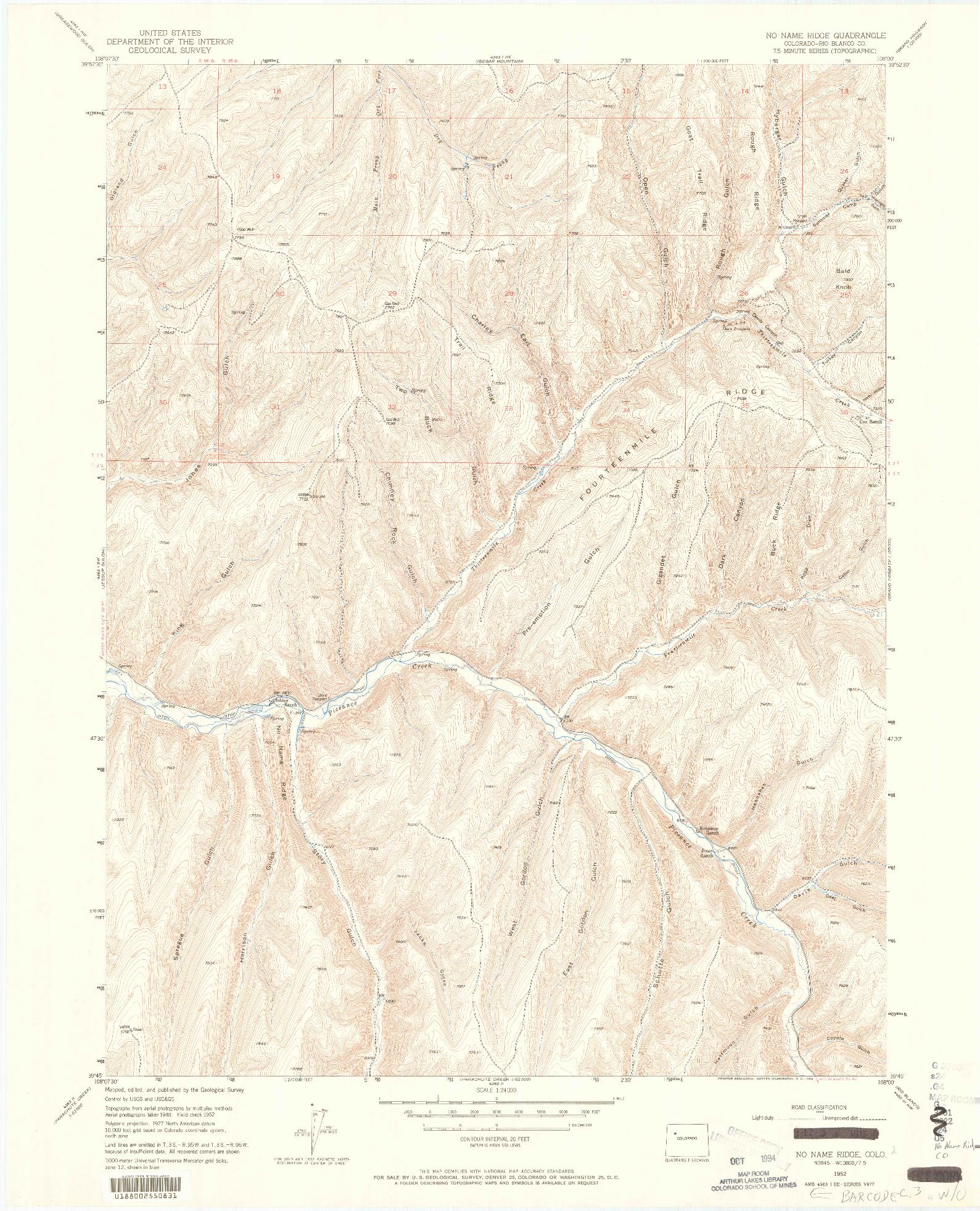 USGS 1:24000-SCALE QUADRANGLE FOR NO NAME RIDGE, CO 1952