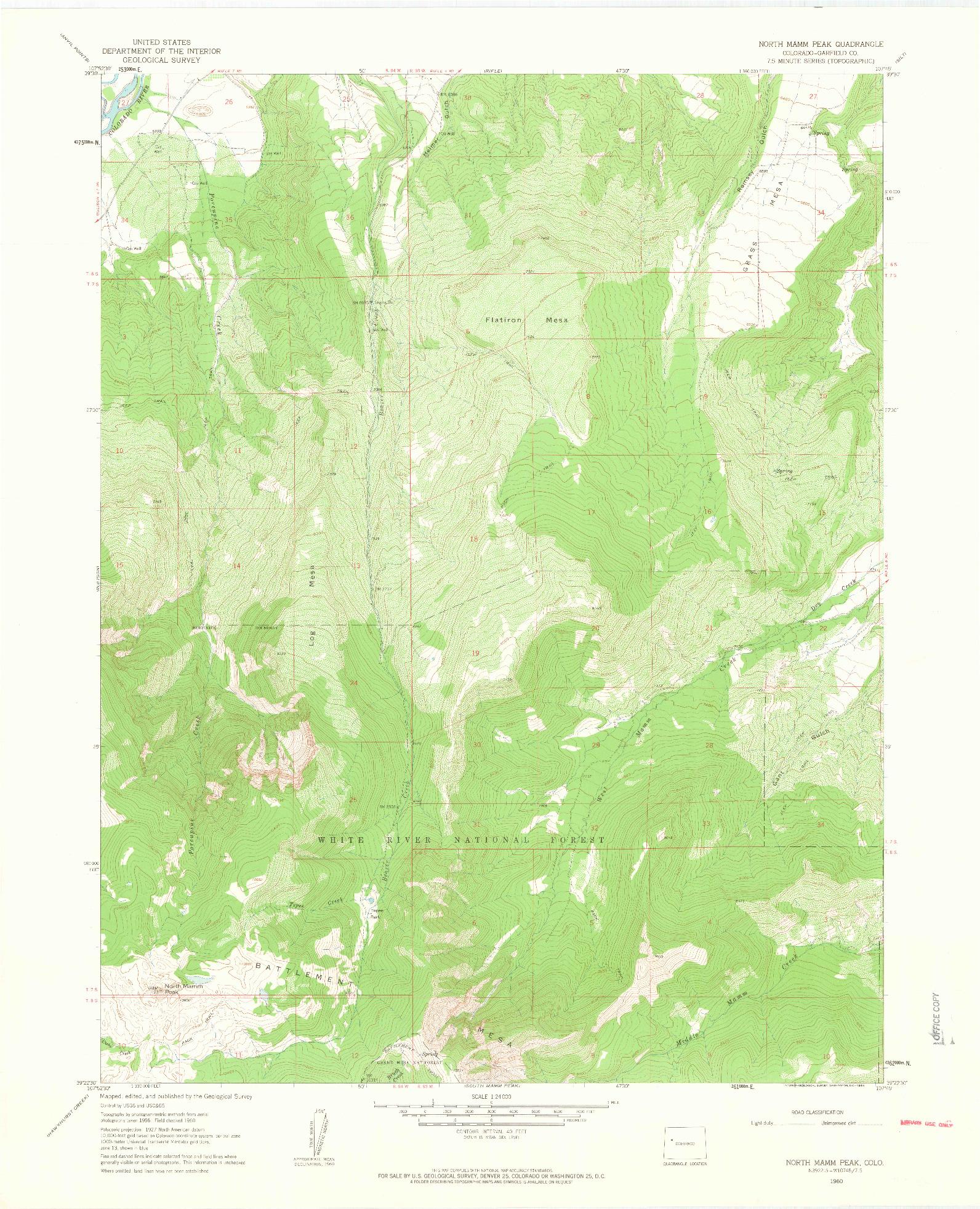 USGS 1:24000-SCALE QUADRANGLE FOR NORTH MAMM PEAK, CO 1960