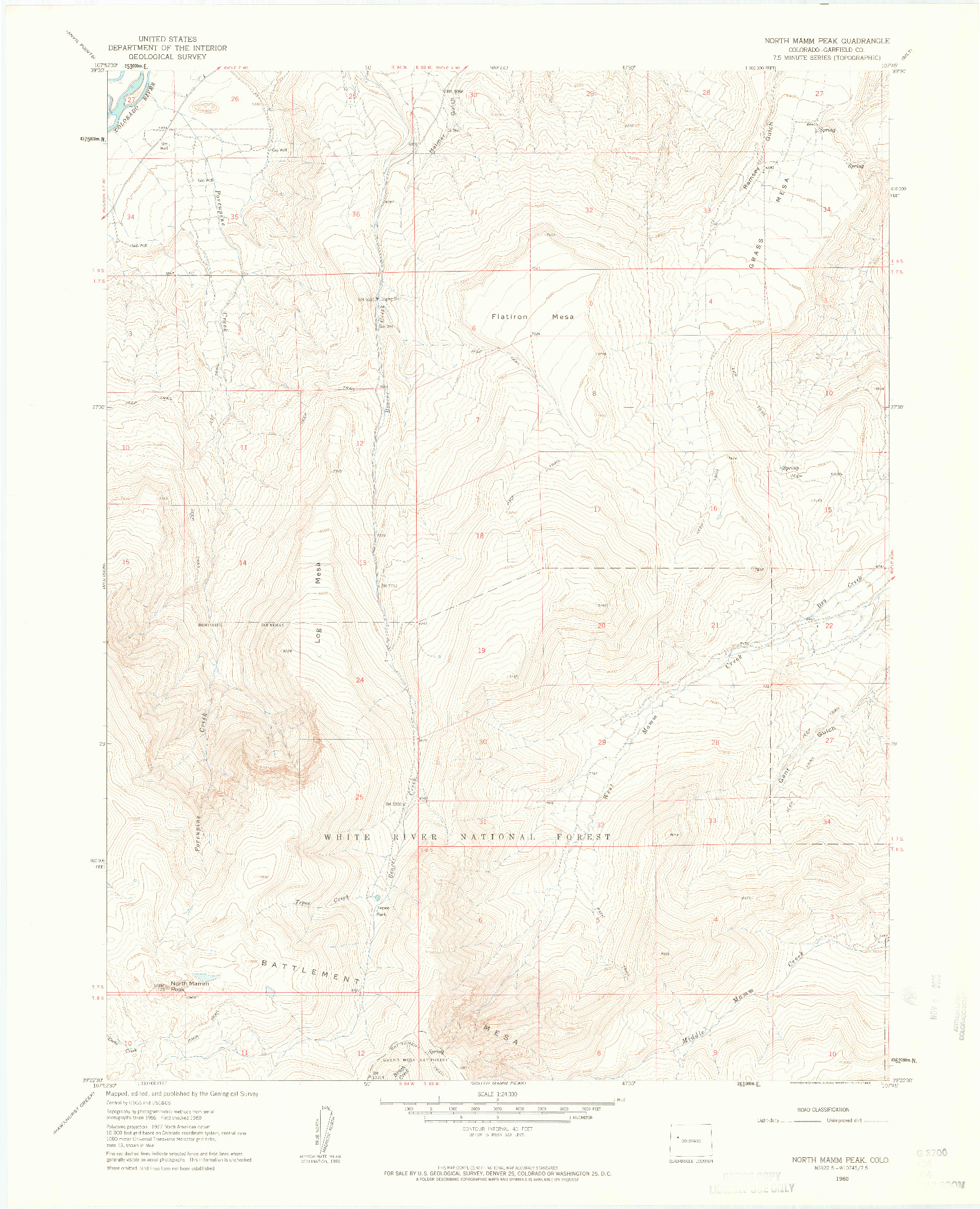 USGS 1:24000-SCALE QUADRANGLE FOR NORTH MAMM PEAK, CO 1960