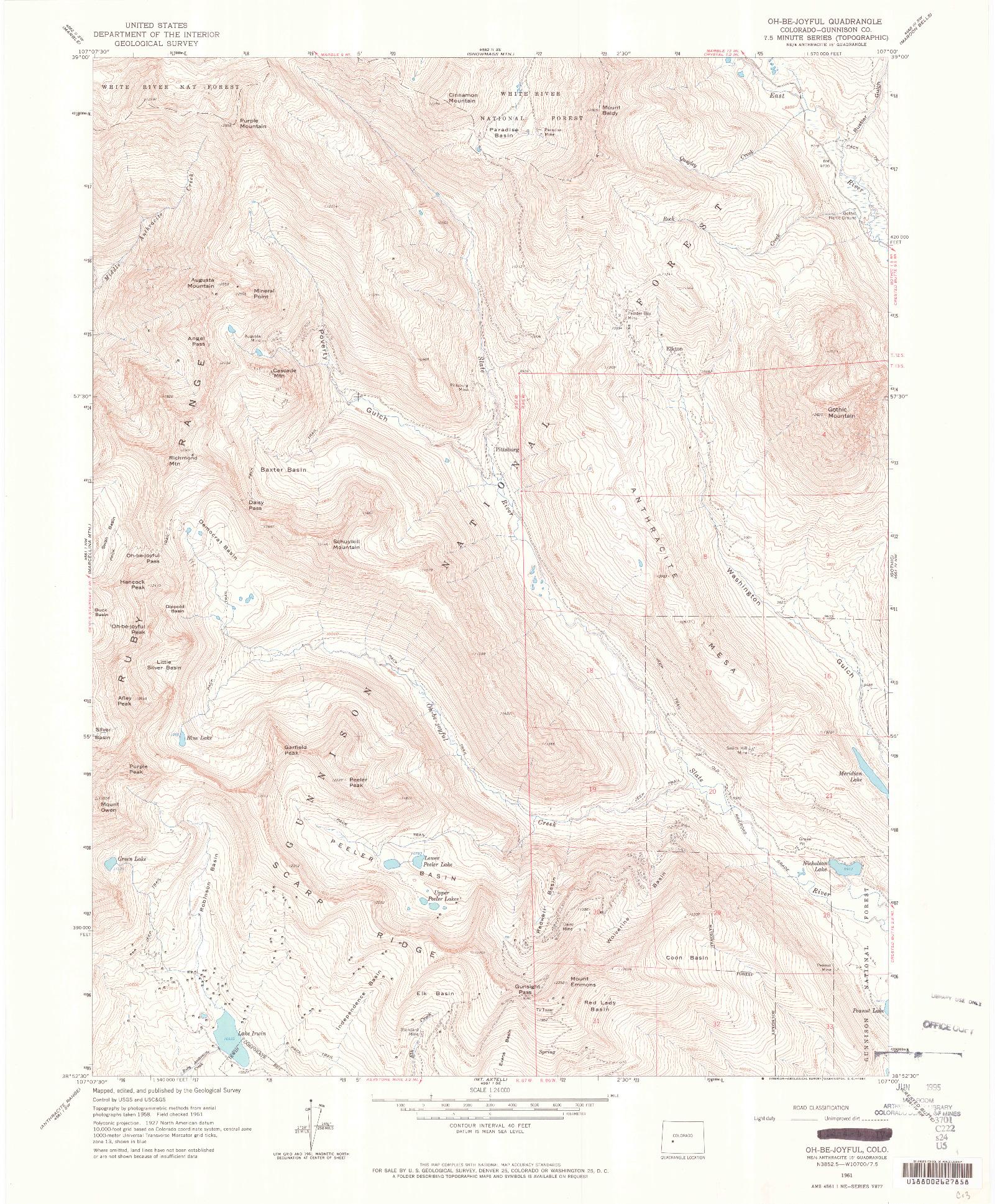 USGS 1:24000-SCALE QUADRANGLE FOR OH-BE-JOYFUL, CO 1961