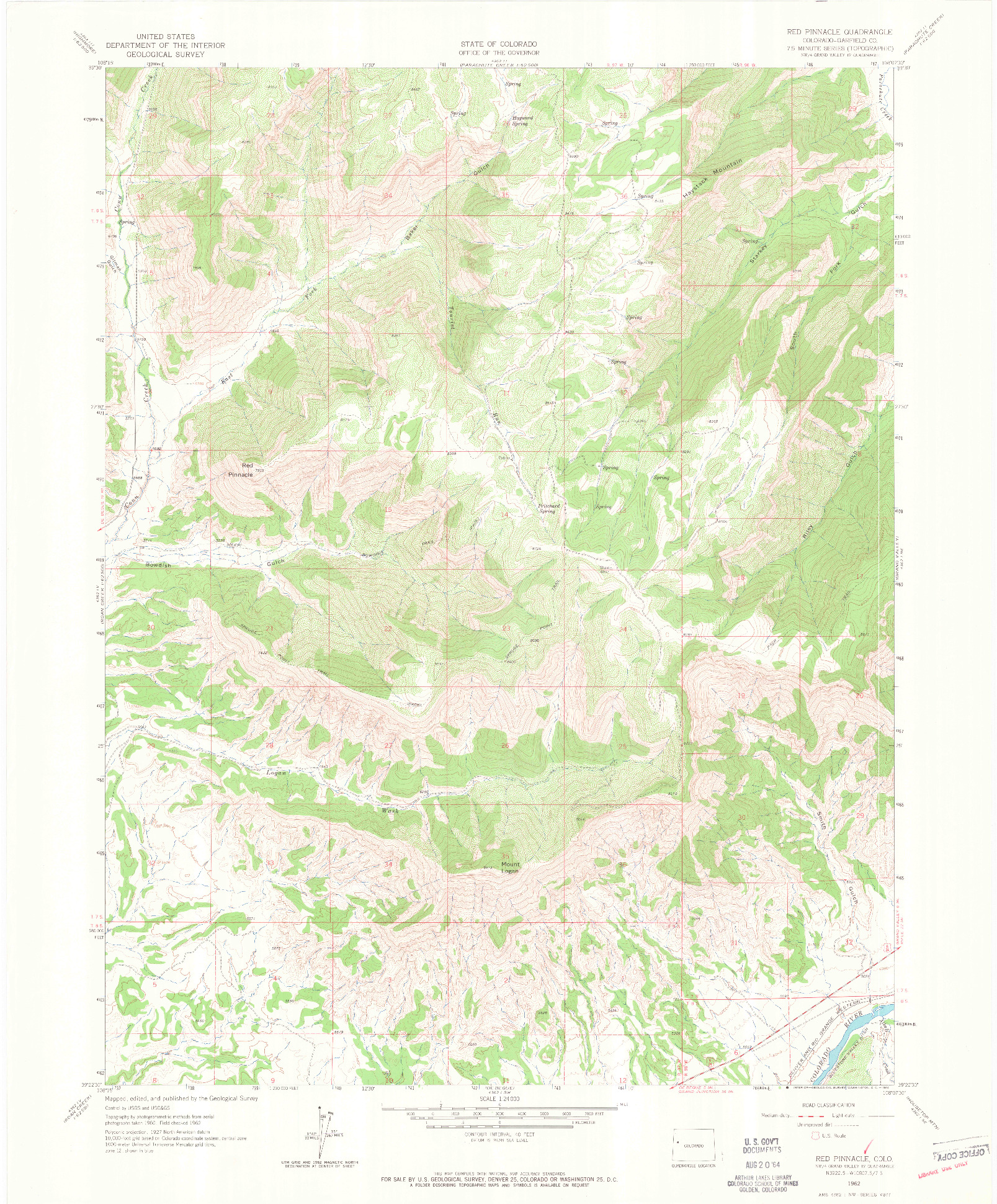 USGS 1:24000-SCALE QUADRANGLE FOR RED PINNACLE, CO 1962