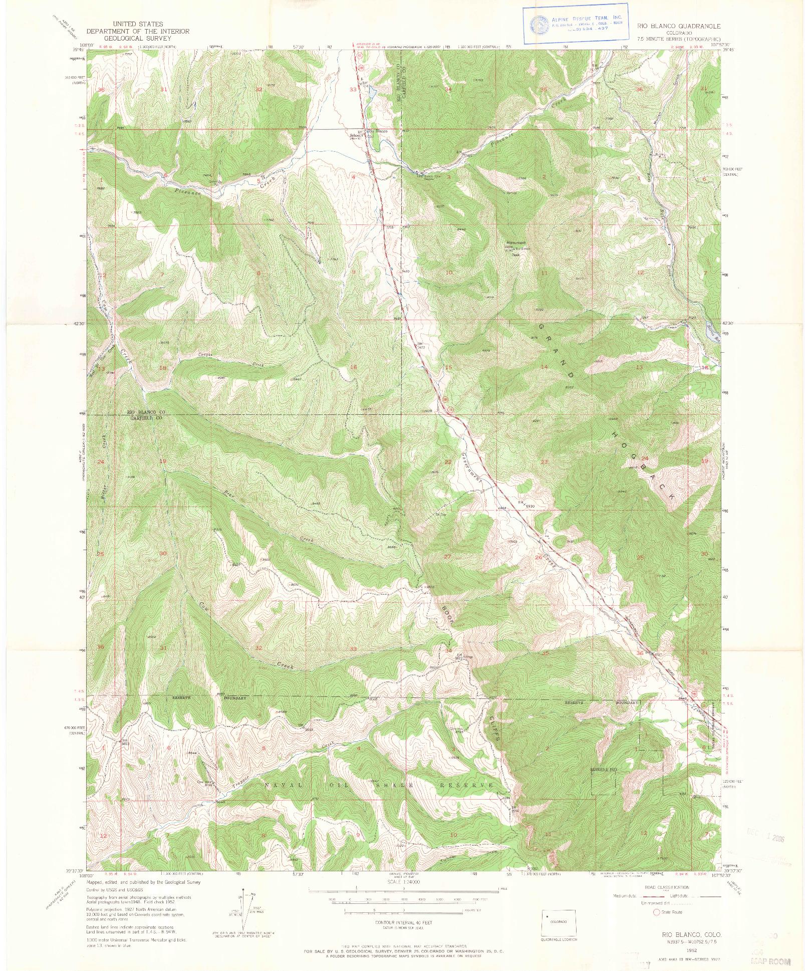 USGS 1:24000-SCALE QUADRANGLE FOR RIO BLANCO, CO 1952