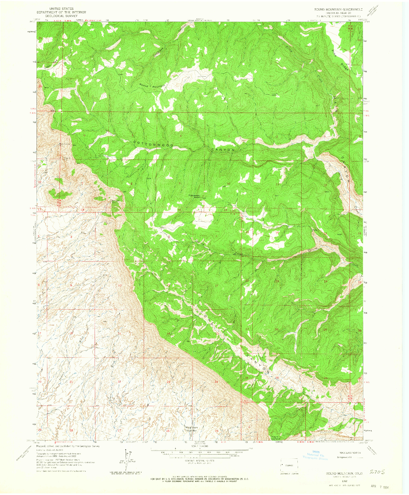 USGS 1:24000-SCALE QUADRANGLE FOR ROUND MOUNTAIN, CO 1962