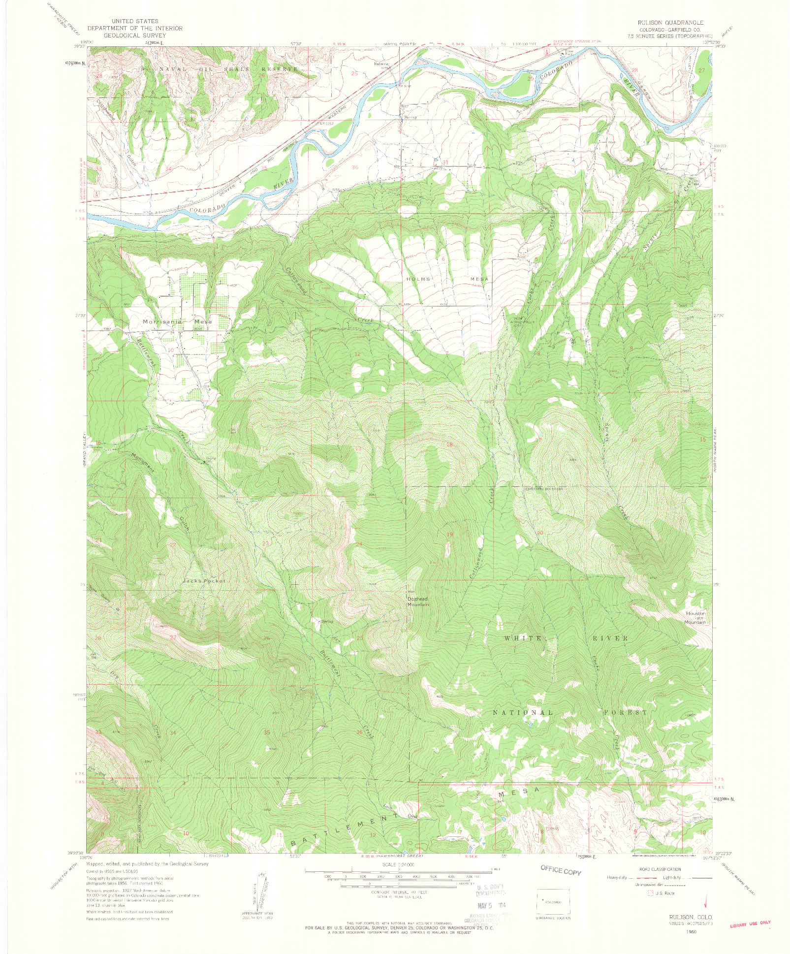 USGS 1:24000-SCALE QUADRANGLE FOR RULISON, CO 1960