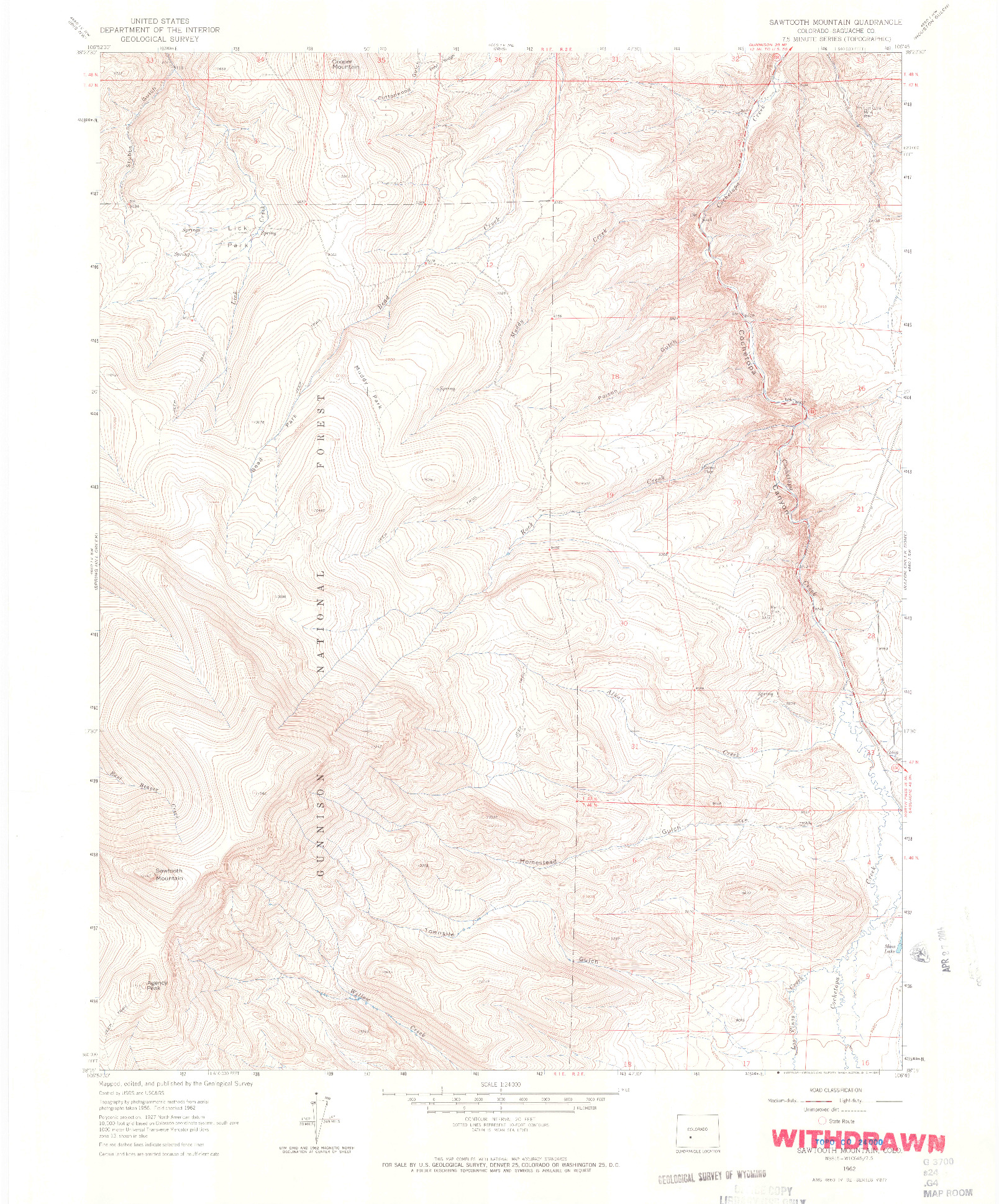 USGS 1:24000-SCALE QUADRANGLE FOR SAWTOOTH MOUNTAIN, CO 1962