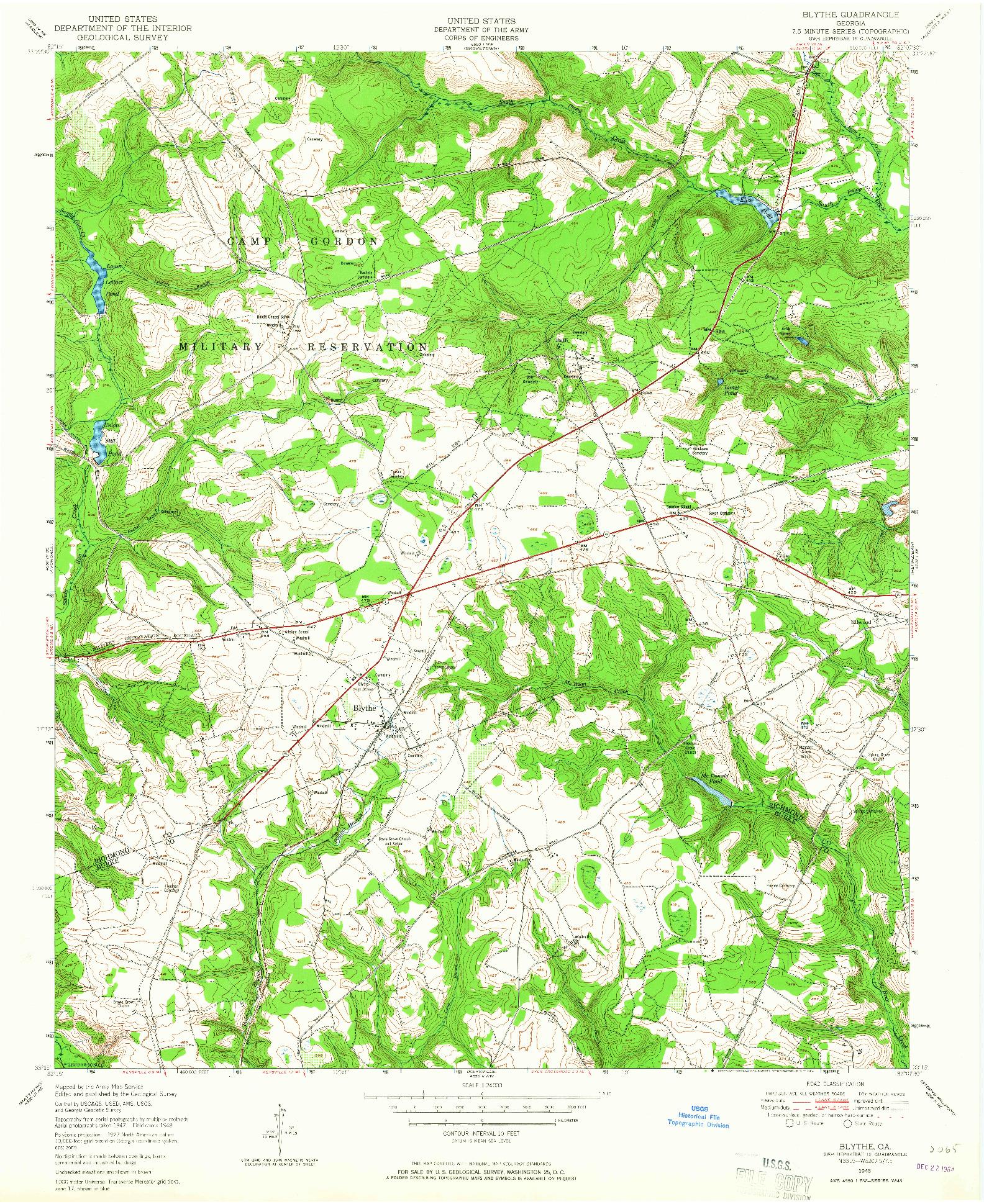 USGS 1:24000-SCALE QUADRANGLE FOR BLYTHE, GA 1948