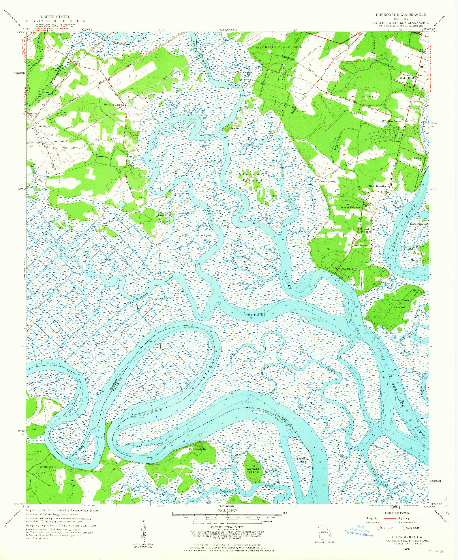 USGS 1:24000-SCALE QUADRANGLE FOR BURROUGHS, GA 1957