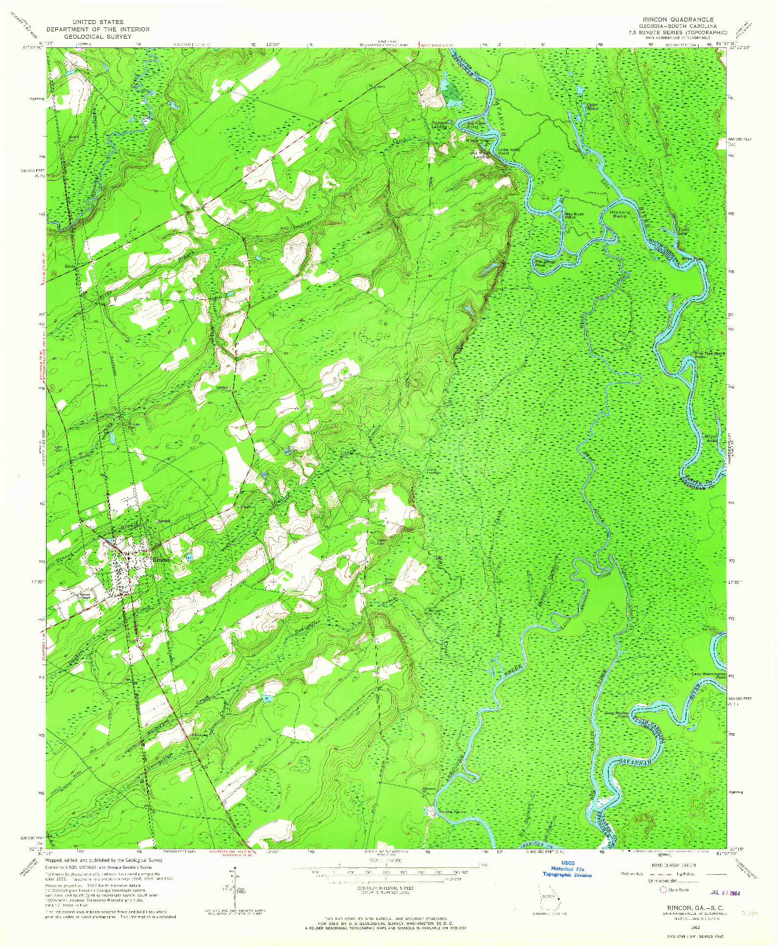 USGS 1:24000-SCALE QUADRANGLE FOR RINCON, GA 1962