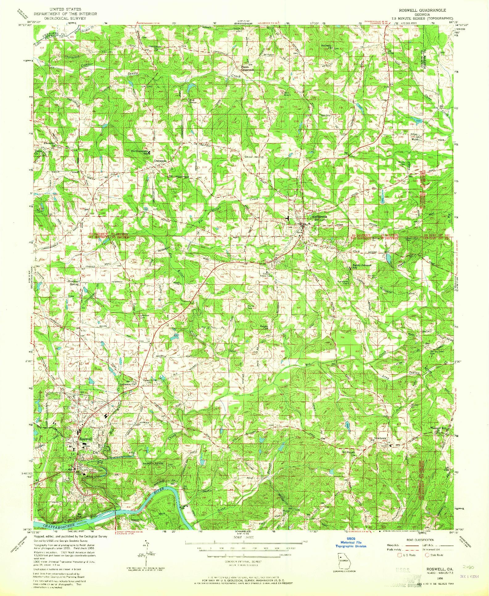 USGS 1:24000-SCALE QUADRANGLE FOR ROSWELL, GA 1956