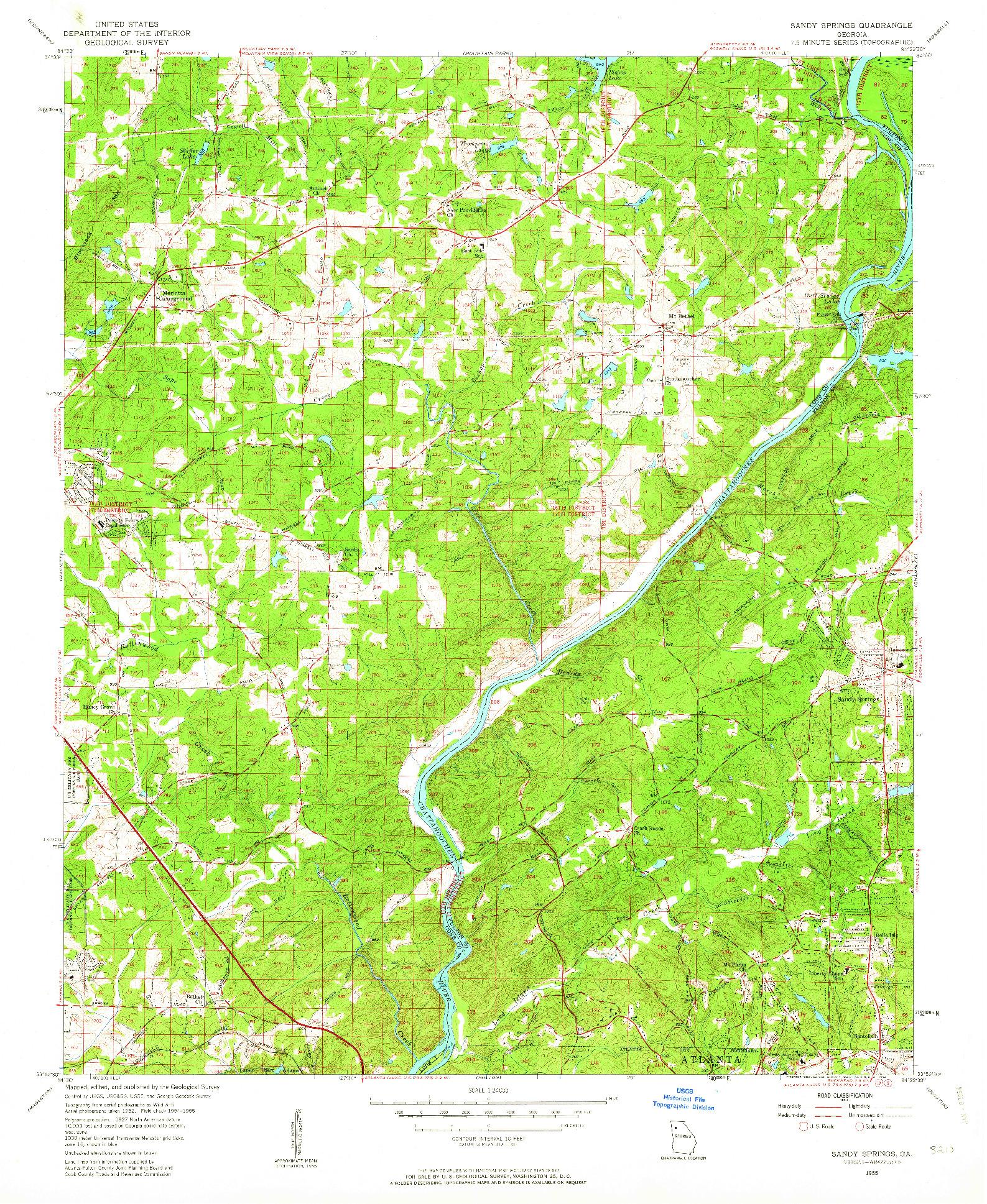 USGS 1:24000-SCALE QUADRANGLE FOR SANDY SPRINGS, GA 1955