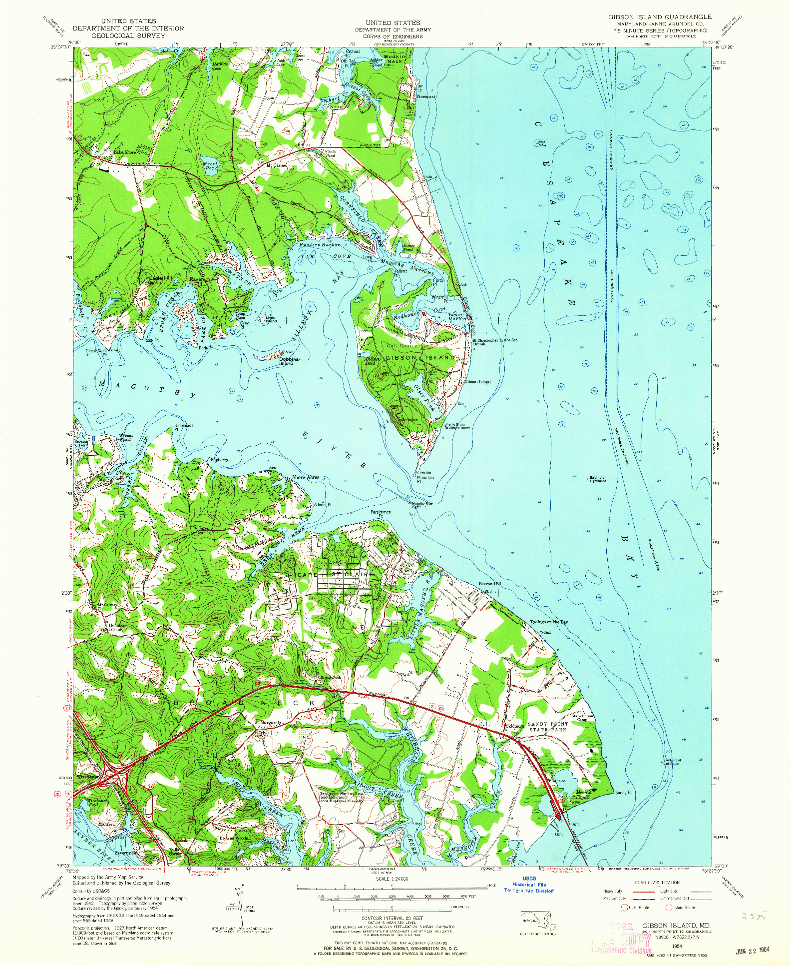 USGS 1:24000-SCALE QUADRANGLE FOR GIBSON ISLAND, MD 1954