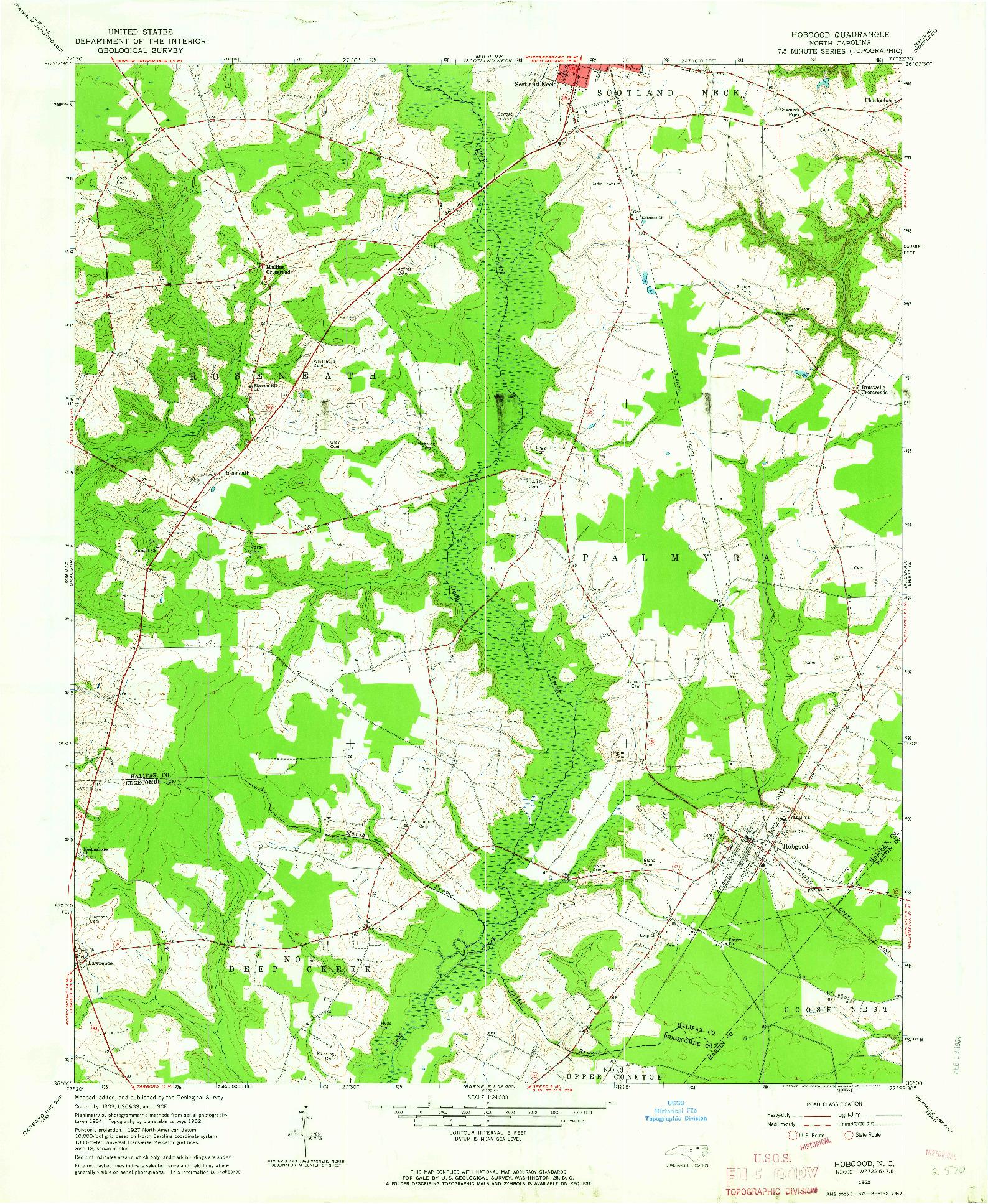 USGS 1:24000-SCALE QUADRANGLE FOR HOBGOOD, NC 1962