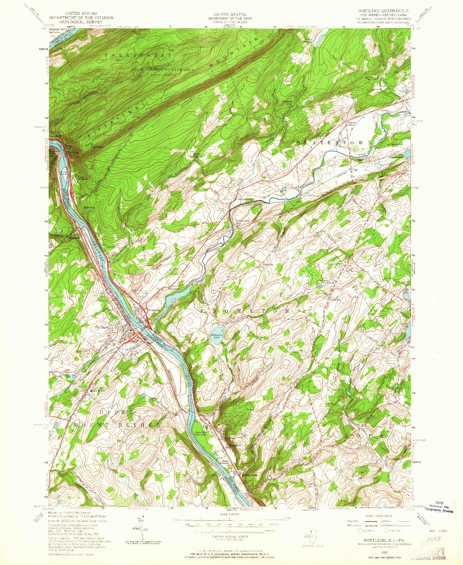 USGS 1:24000-SCALE QUADRANGLE FOR PORTLAND, NJ 1955