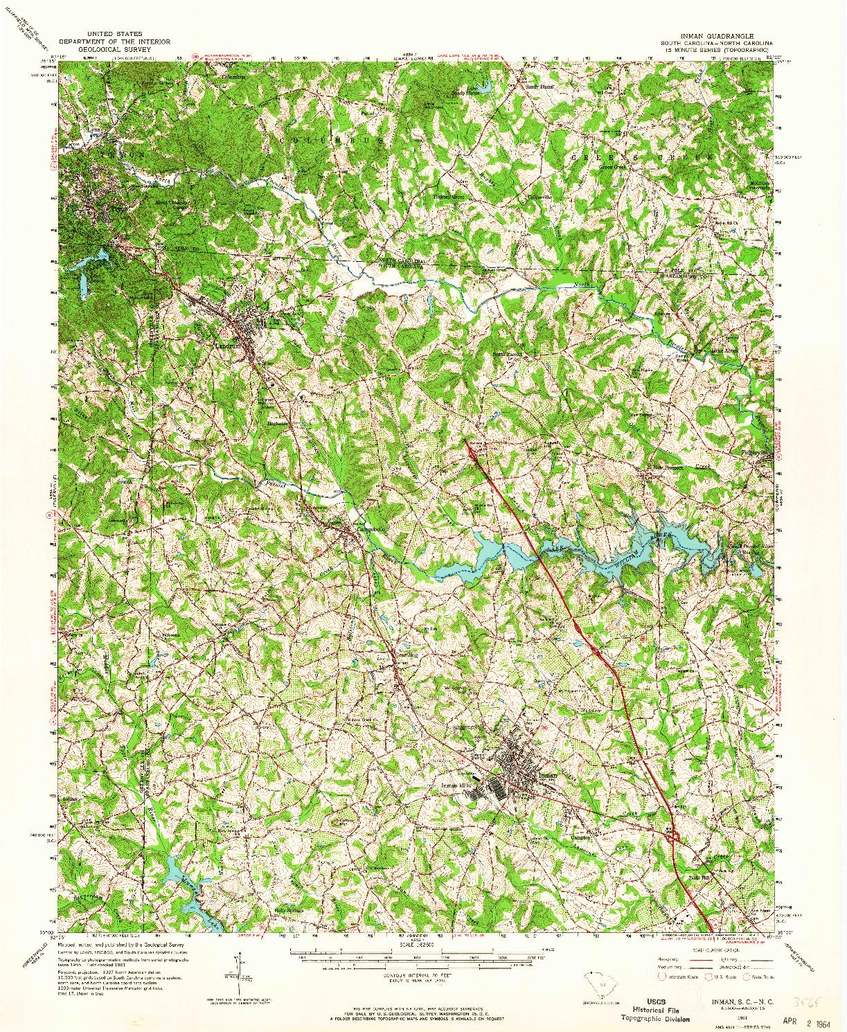 USGS 1:62500-SCALE QUADRANGLE FOR INMAN, SC 1961