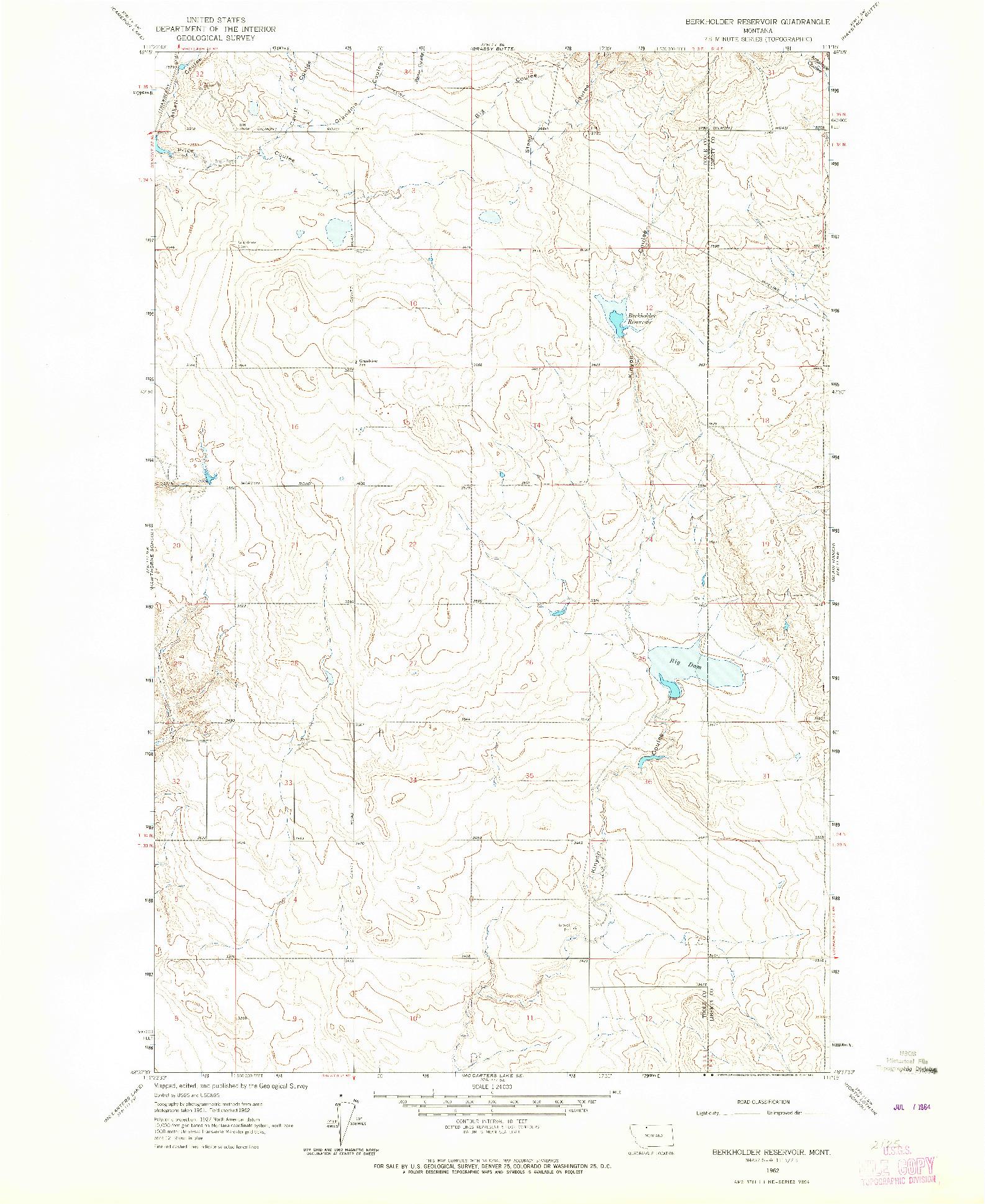 USGS 1:24000-SCALE QUADRANGLE FOR BERKHOLDER RESERVOIR, MT 1962