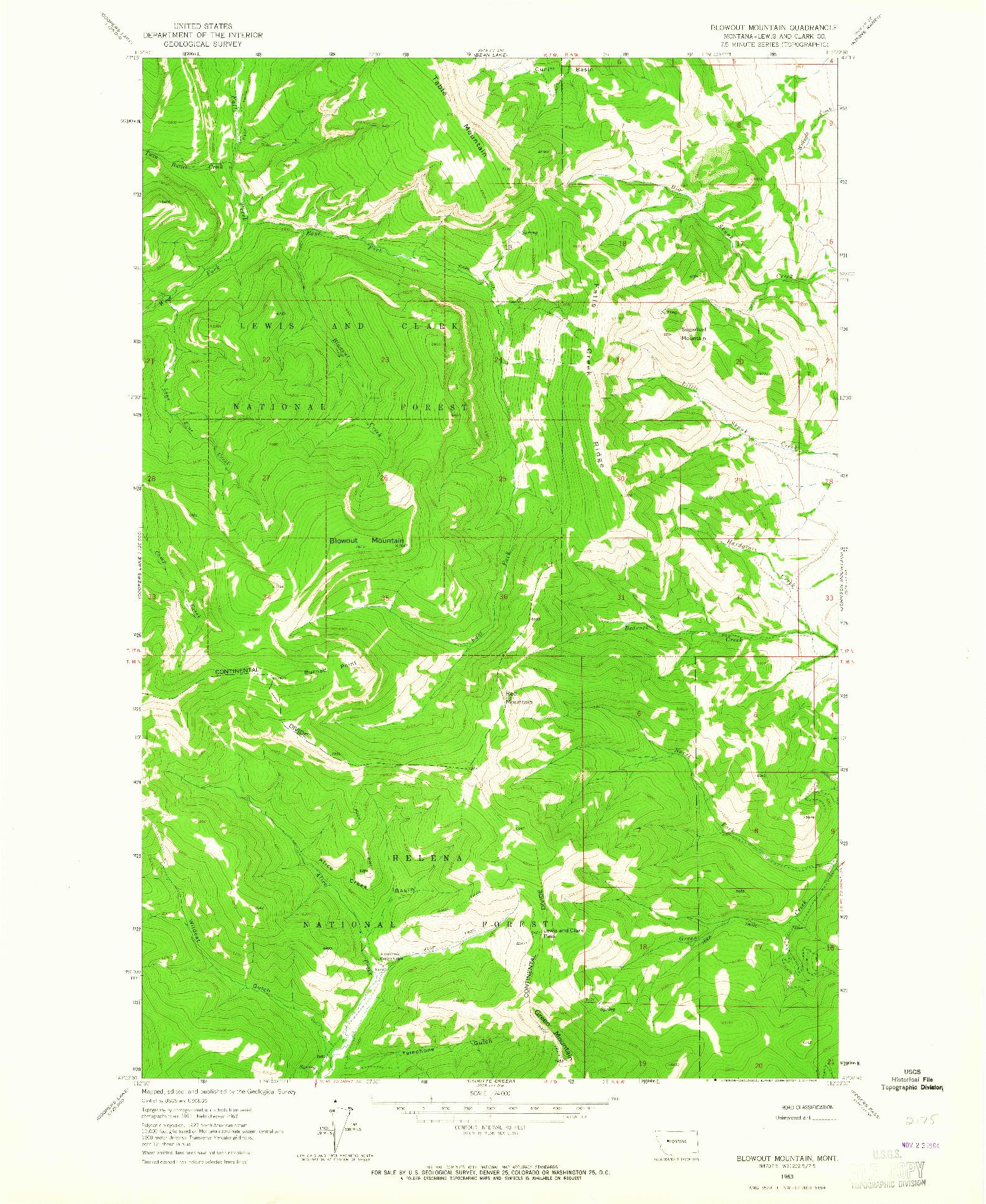 USGS 1:24000-SCALE QUADRANGLE FOR BLOWOUT MOUNTAIN, MT 1963