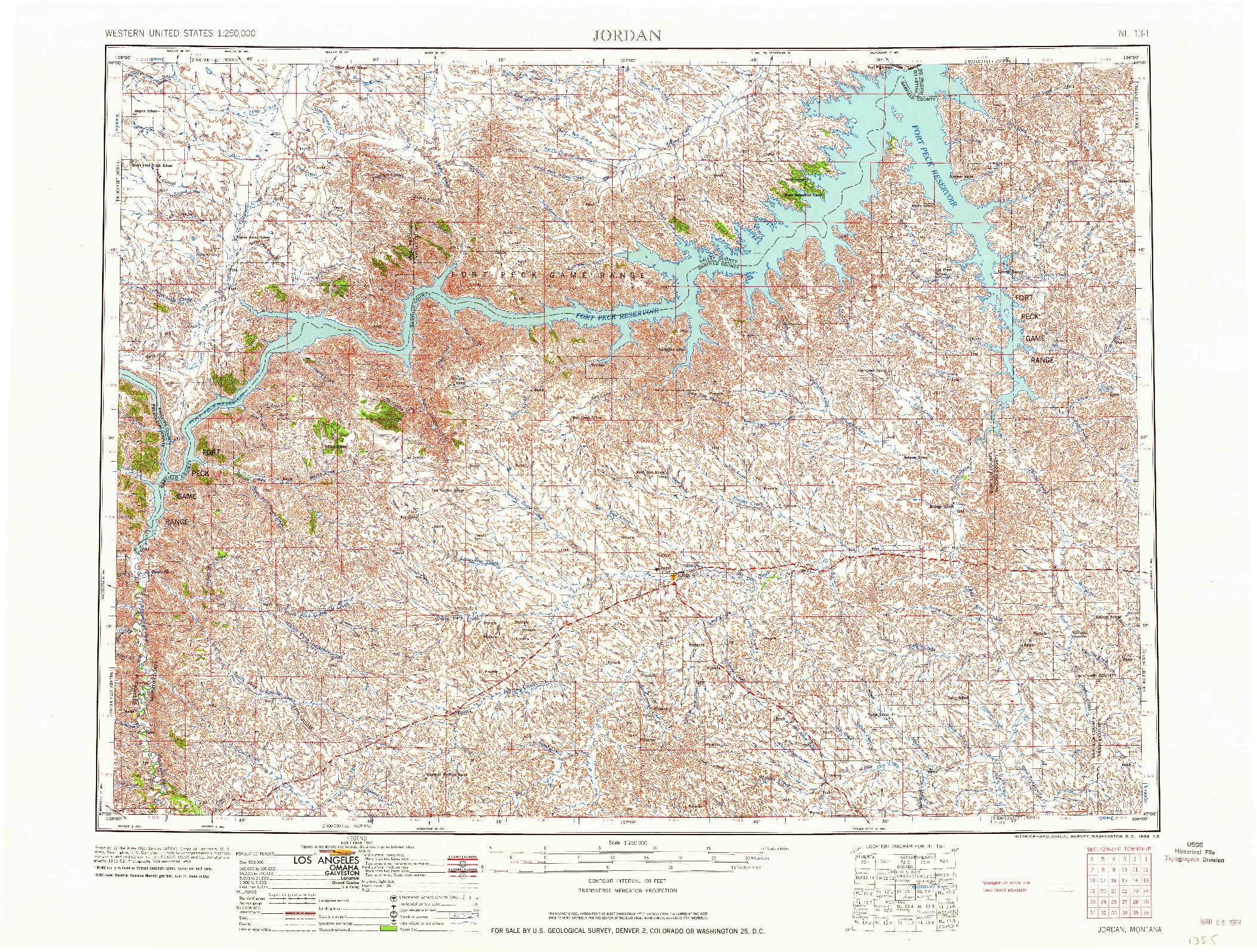 USGS 1:250000-SCALE QUADRANGLE FOR JORDAN, MT 1964