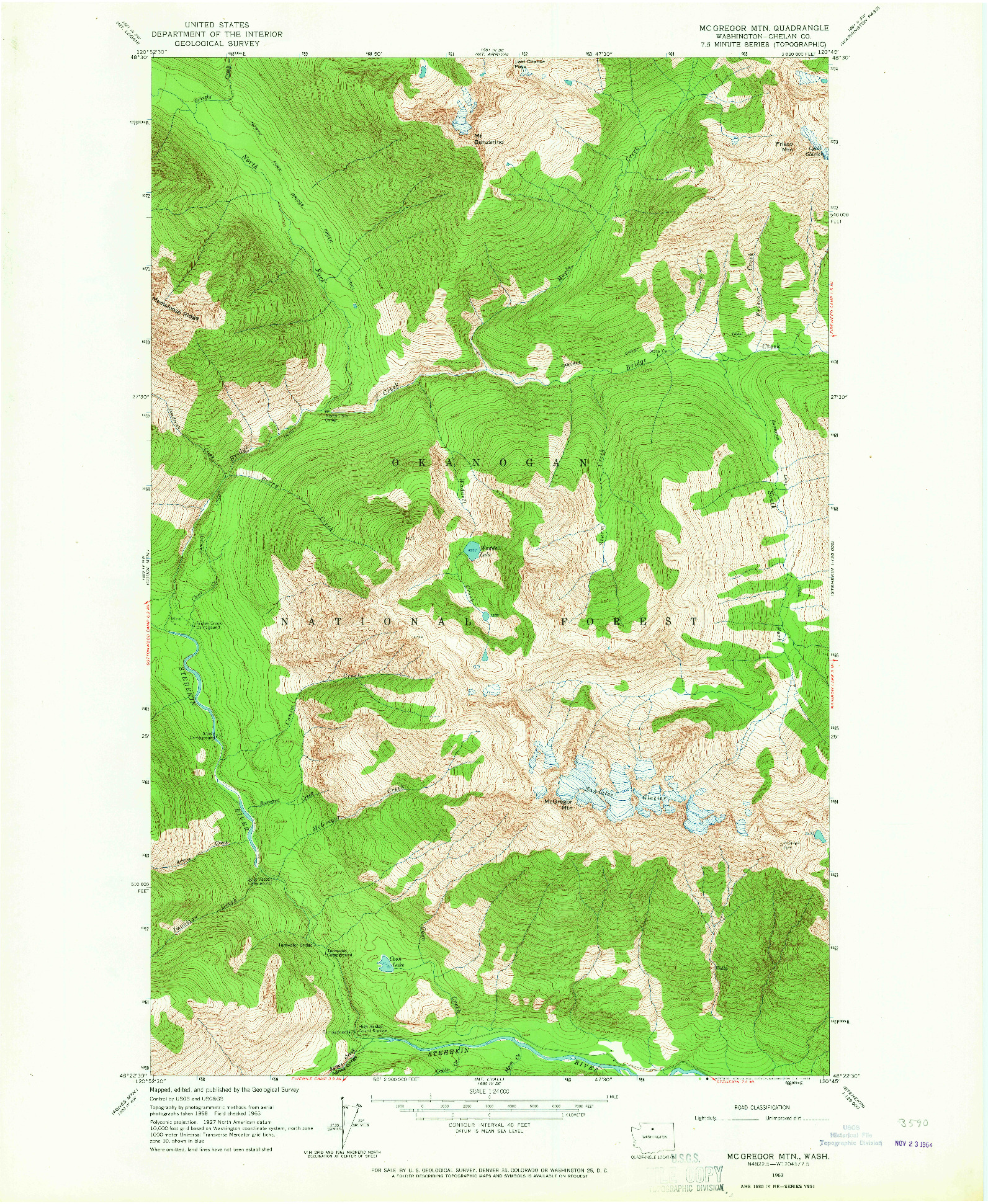 USGS 1:24000-SCALE QUADRANGLE FOR MC GREGOR MTN, WA 1963