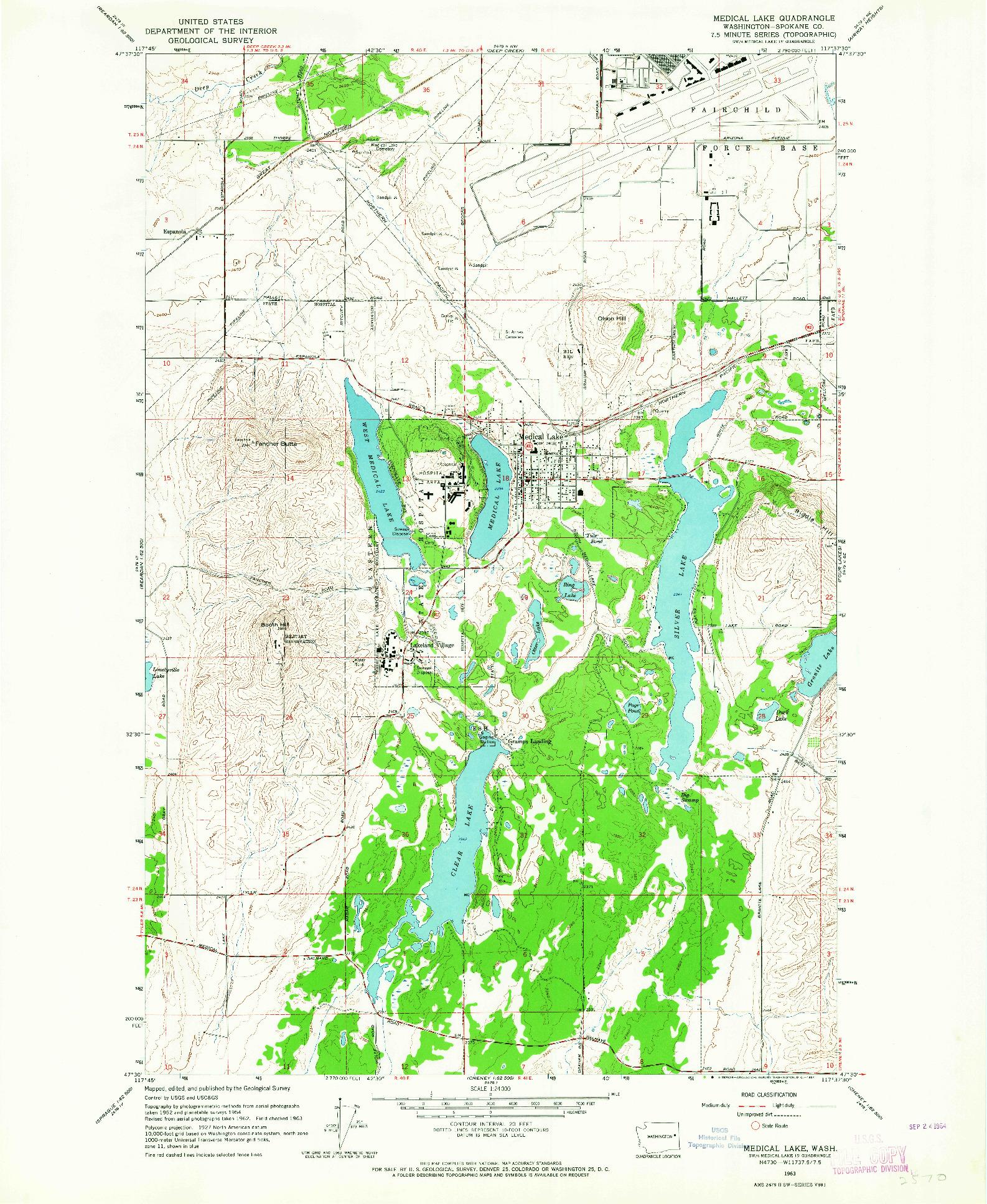 USGS 1:24000-SCALE QUADRANGLE FOR MEDICAL LAKE, WA 1963