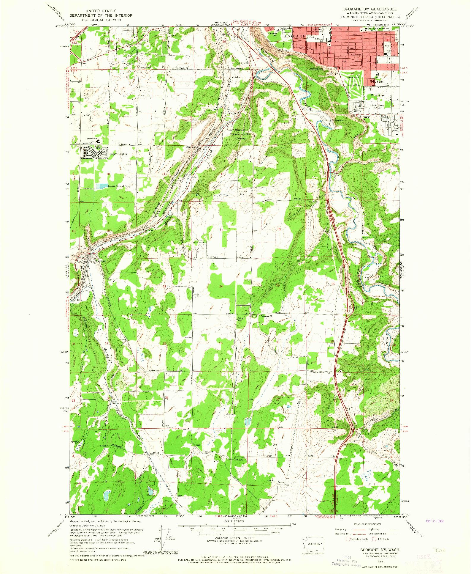 USGS 1:24000-SCALE QUADRANGLE FOR SPOKANE SW, WA 1963