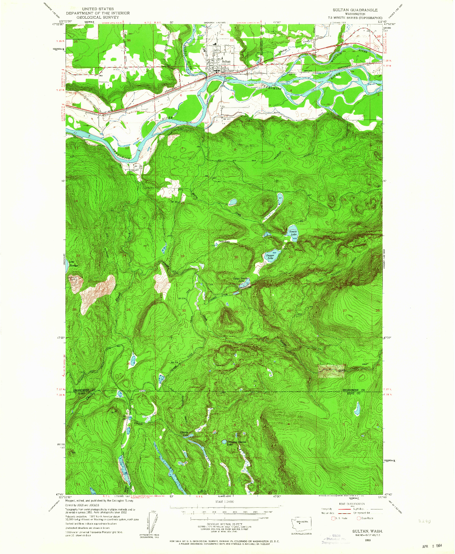 USGS 1:24000-SCALE QUADRANGLE FOR SULTAN, WA 1953