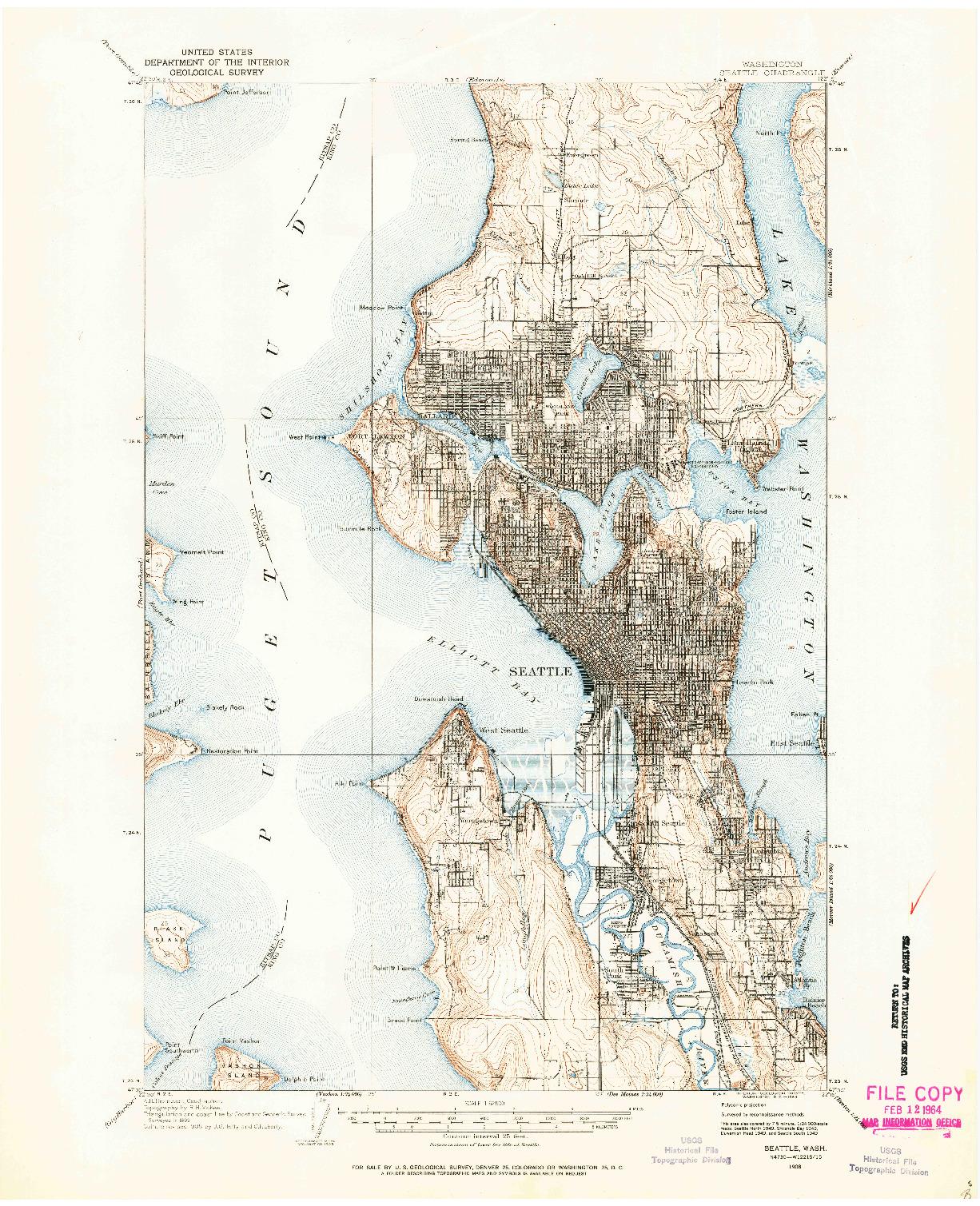 USGS 1:62500-SCALE QUADRANGLE FOR SEATTLE, WA 1908