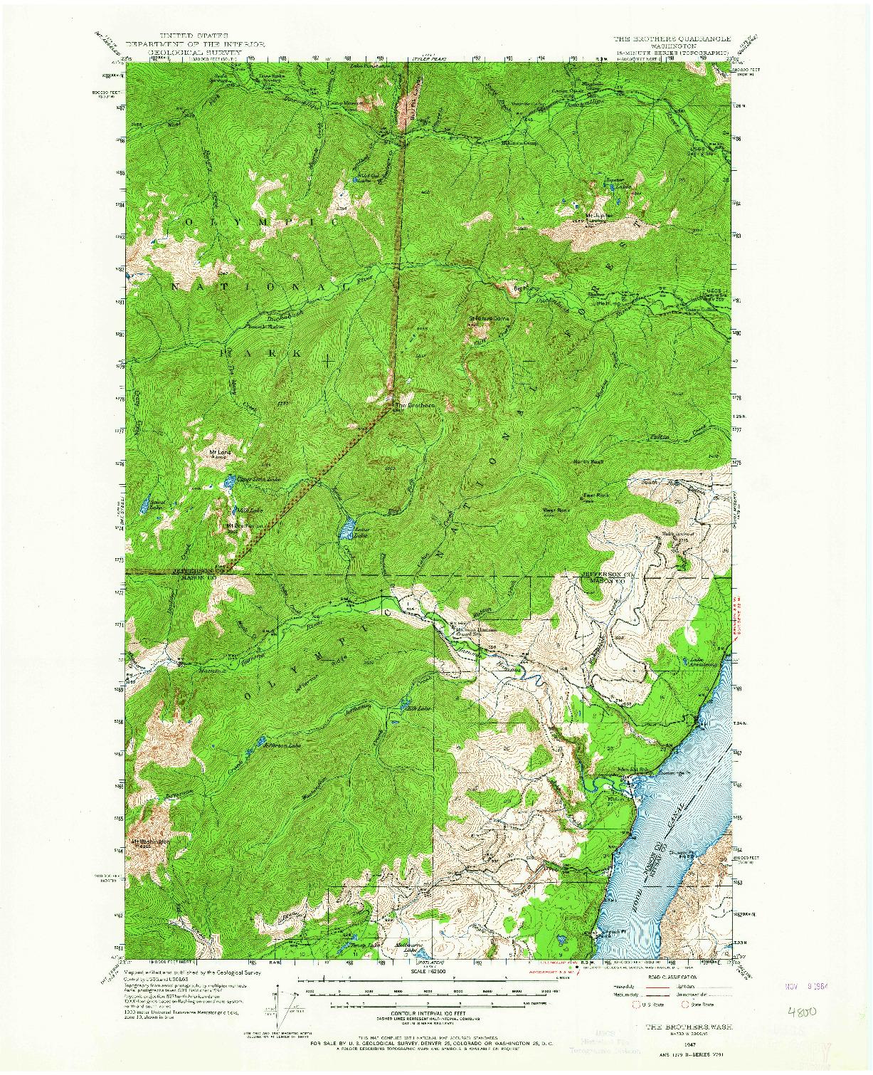 USGS 1:62500-SCALE QUADRANGLE FOR THE BROTHERS, WA 1947